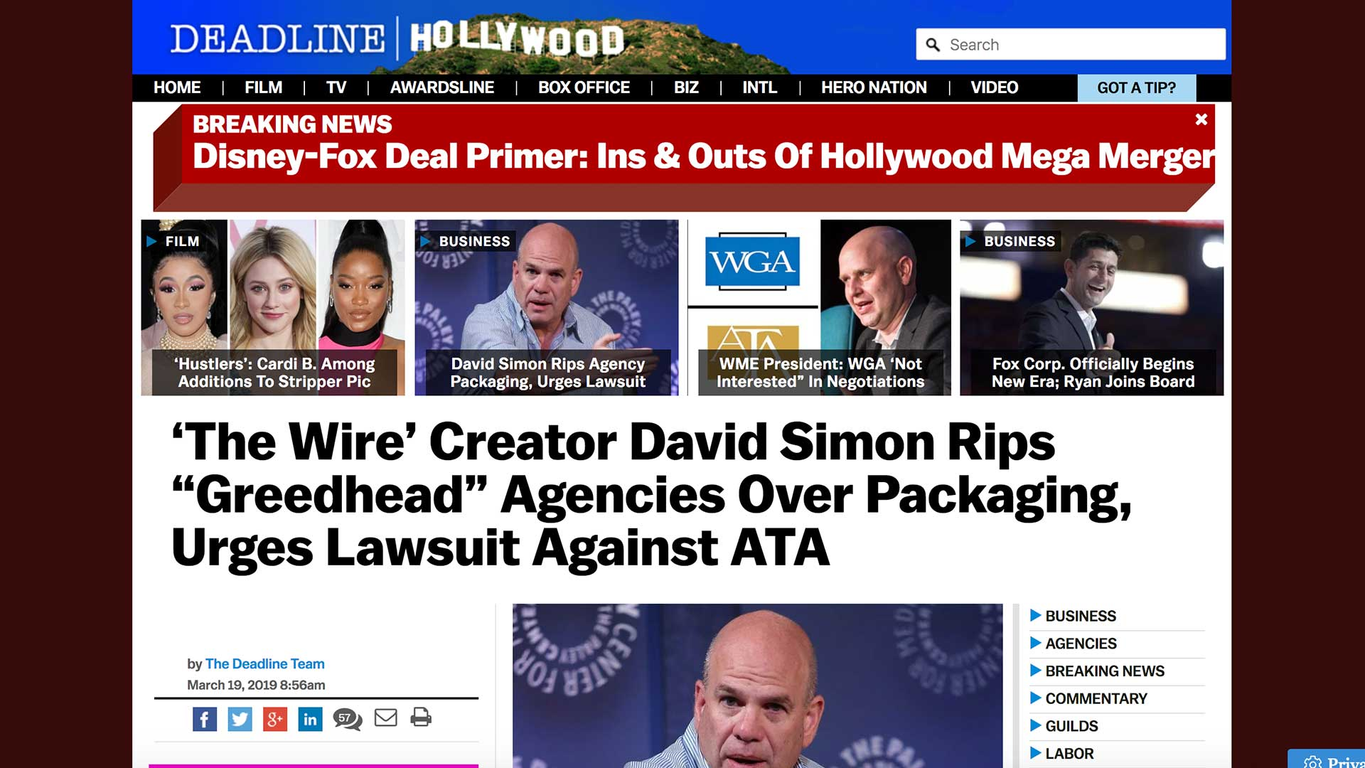 "Fairness Rocks News 'The Wire' Creator David Simon Rips ""Greedhead"" Agencies Over Packaging, Urges Lawsuit Against ATA"