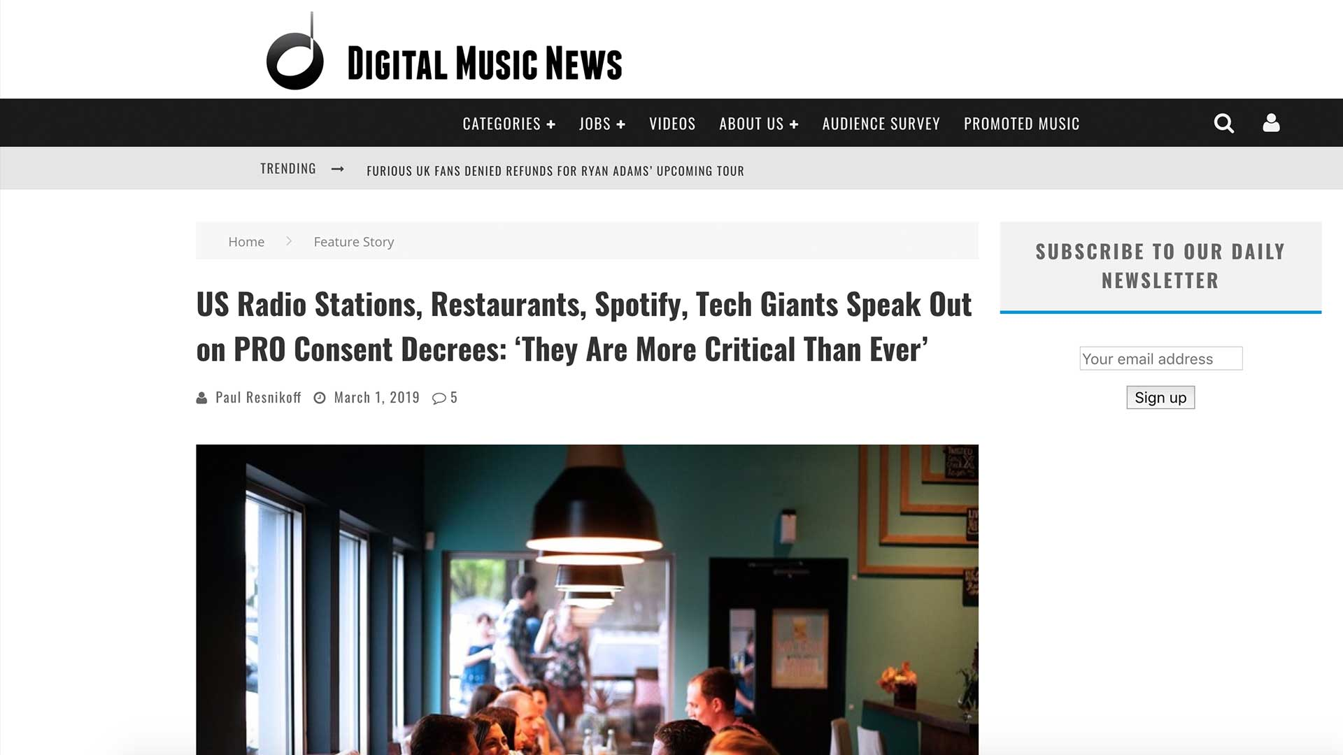 Fairness Rocks News US Radio Stations, Restaurants, Spotify, Tech Giants Speak Out on PRO Consent Decrees: 'They Are More Critical Than Ever'