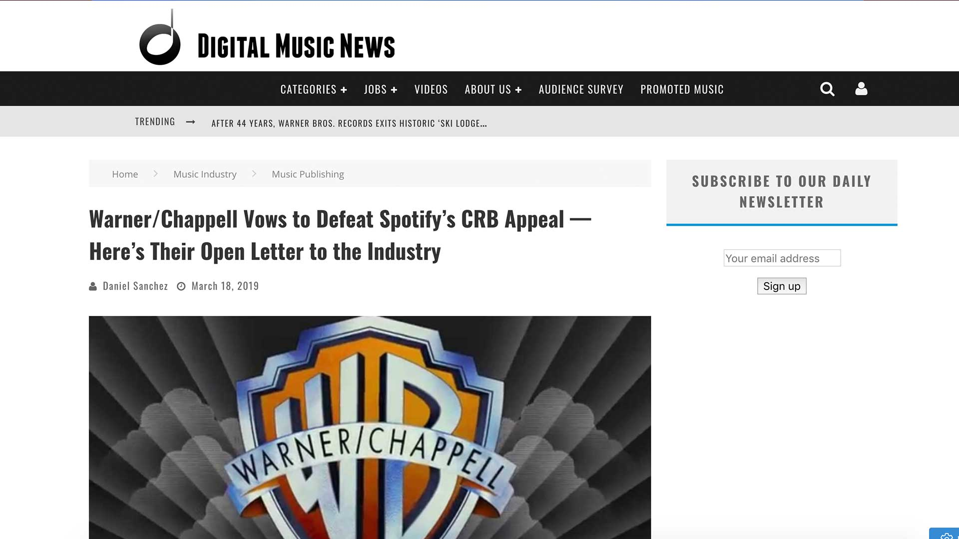 Fairness Rocks News Warner/Chappell Vows to Defeat Spotify's CRB Appeal — Here's Their Open Letter to the Industry