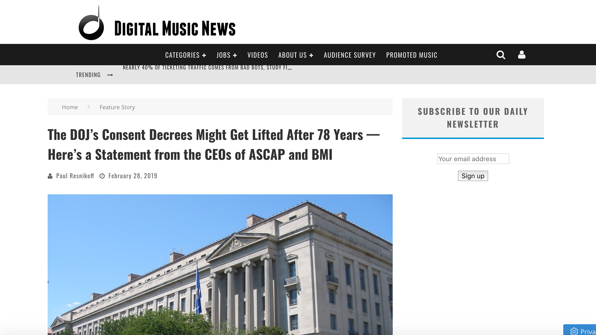 Fairness Rocks News The DOJ's Consent Decrees Might Get Lifted After 78 Years — Here's a Statement from the CEOs of ASCAP and BMI