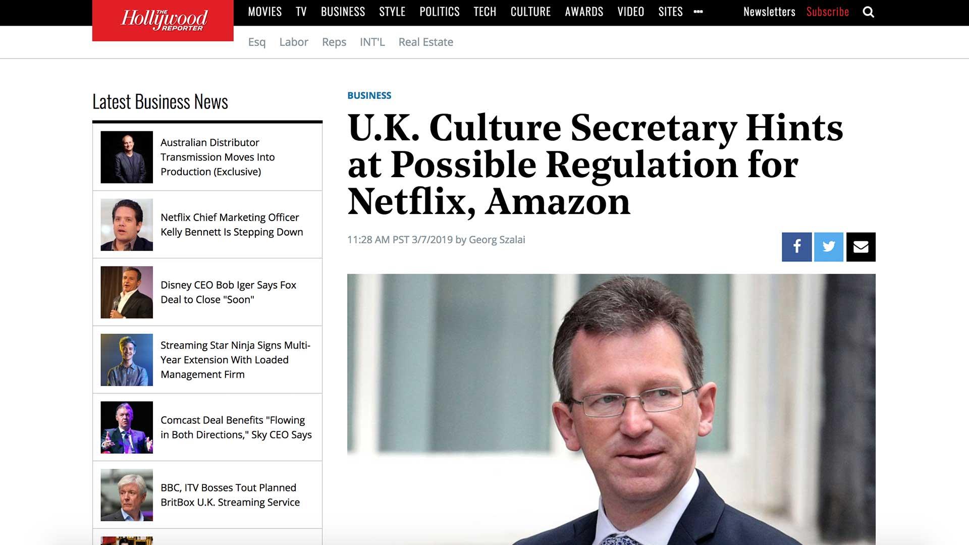 Fairness Rocks News U.K. Culture Secretary Hints at Possible Regulation for Netflix, Amazon