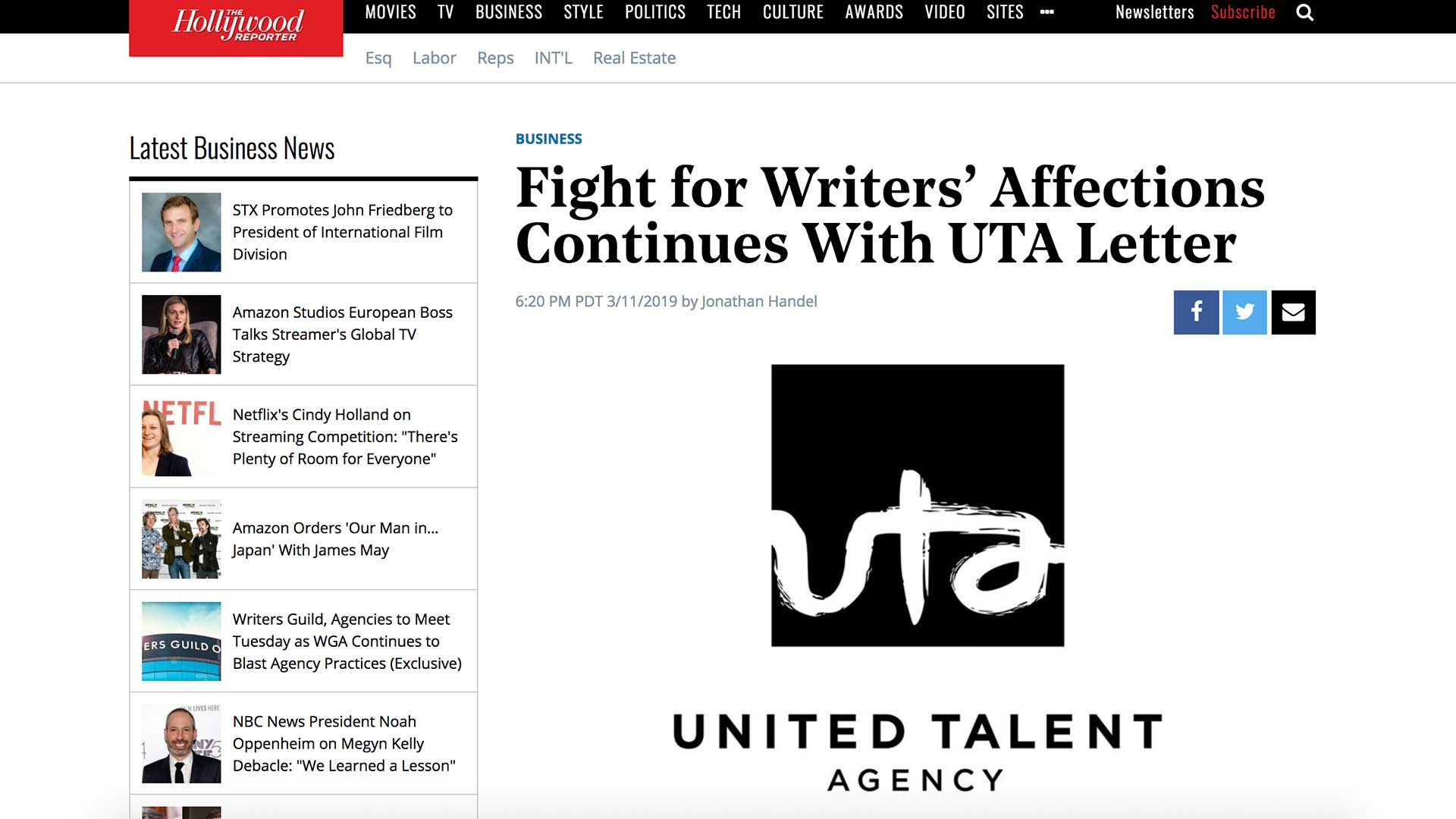 Fairness Rocks News Fight for Writers' Affections Continues With UTA Letter