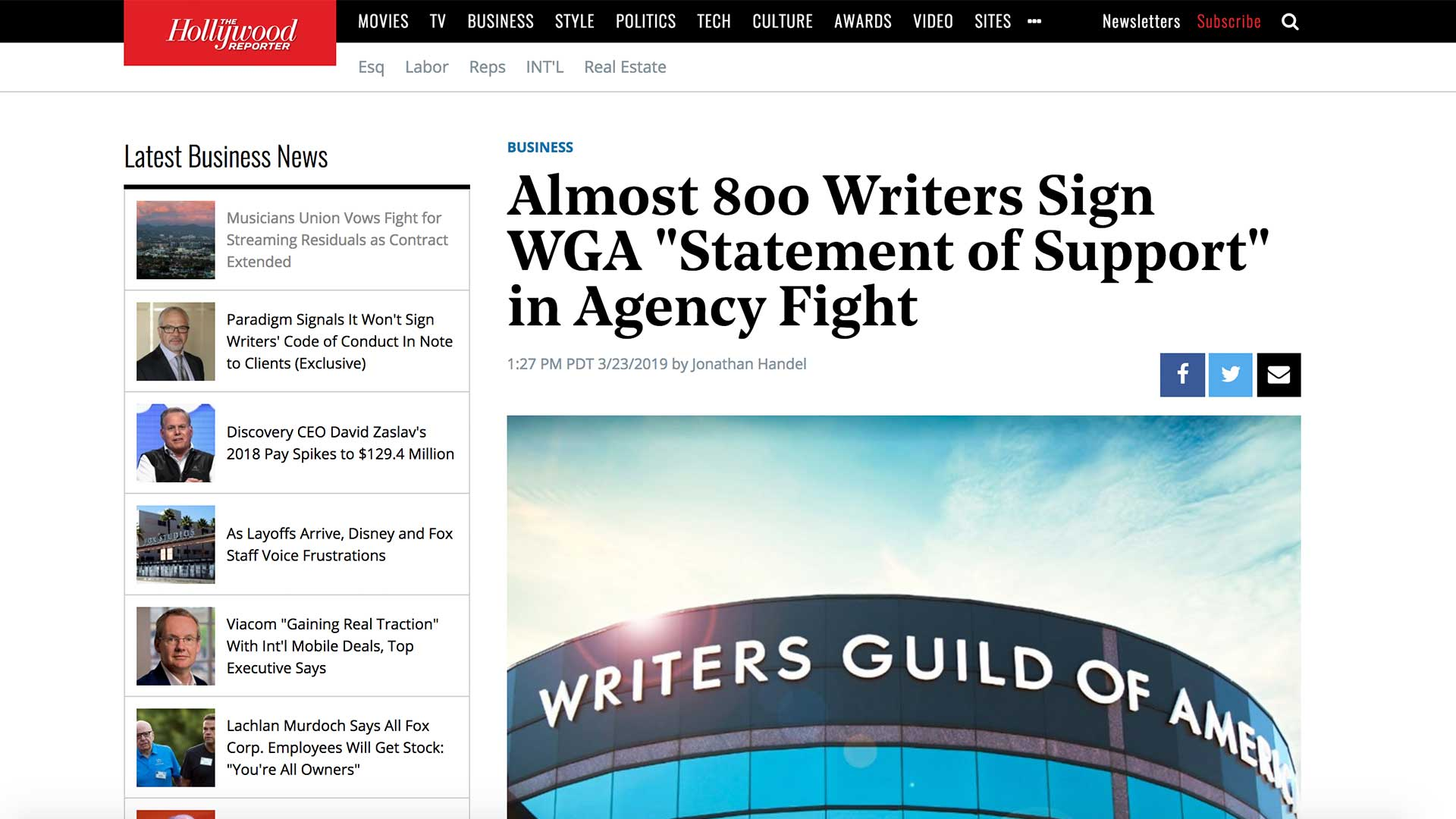 "Fairness Rocks News Almost 800 Writers Sign WGA ""Statement of Support"" in Agency Fight"