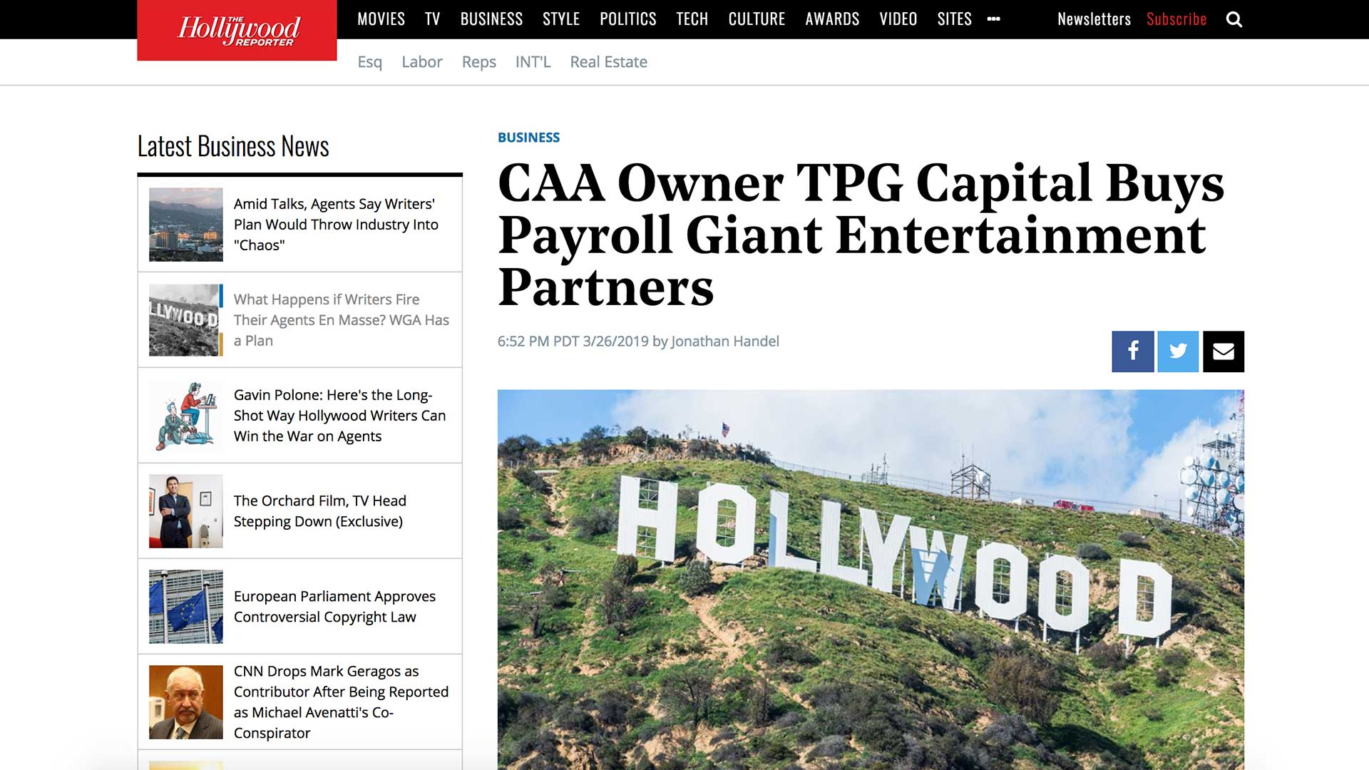 Fairness Rocks News CAA Owner TPG Capital Buys Payroll Giant Entertainment Partners