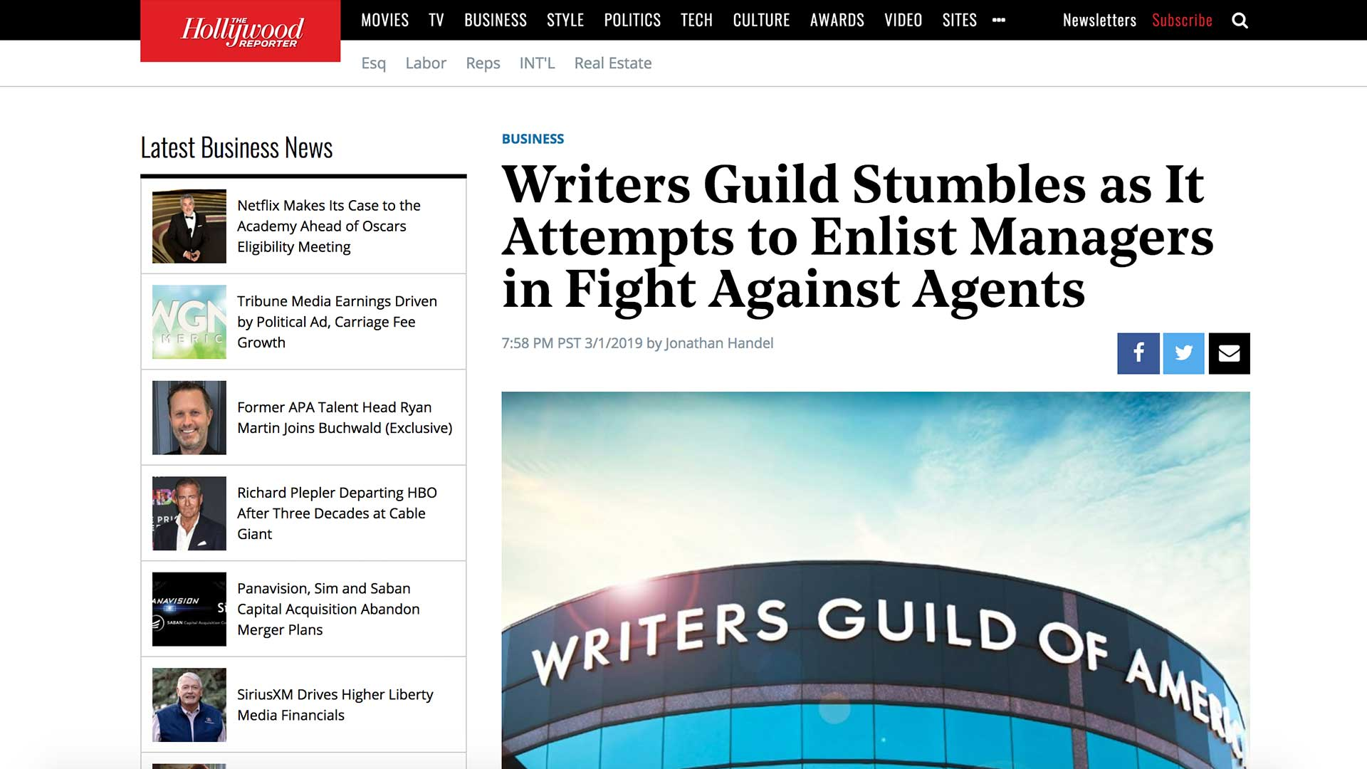 Fairness Rocks News Writers Guild Stumbles as It Attempts to Enlist Managers in Fight Against Agents