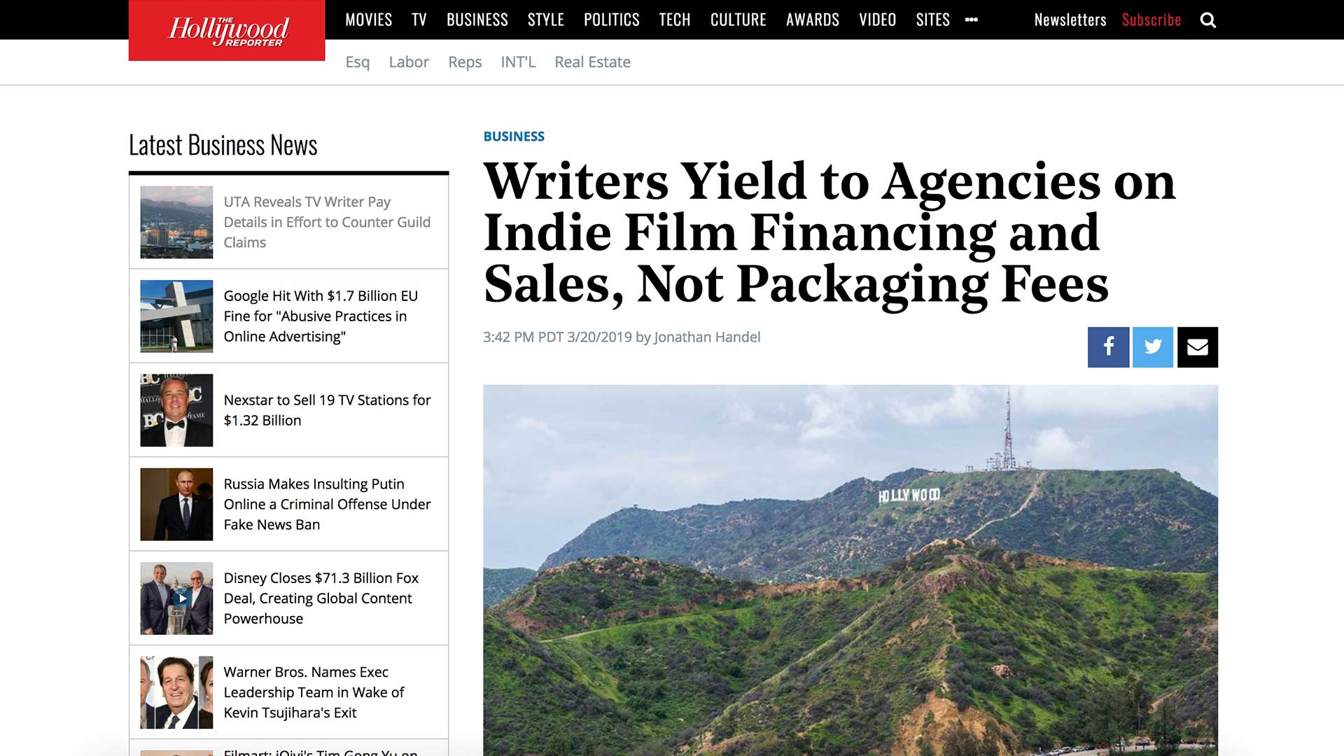 Fairness Rocks News Writers Yield to Agencies on Indie Film Financing and Sales, Not Packaging Fees