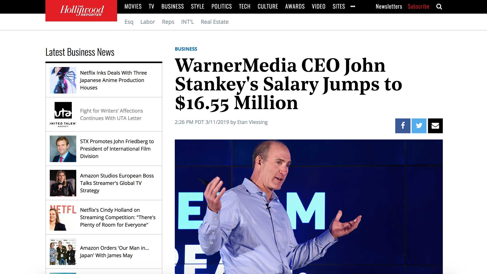 Fairness Rocks News WarnerMedia CEO John Stankey's Salary Jumps to $16.55 Million