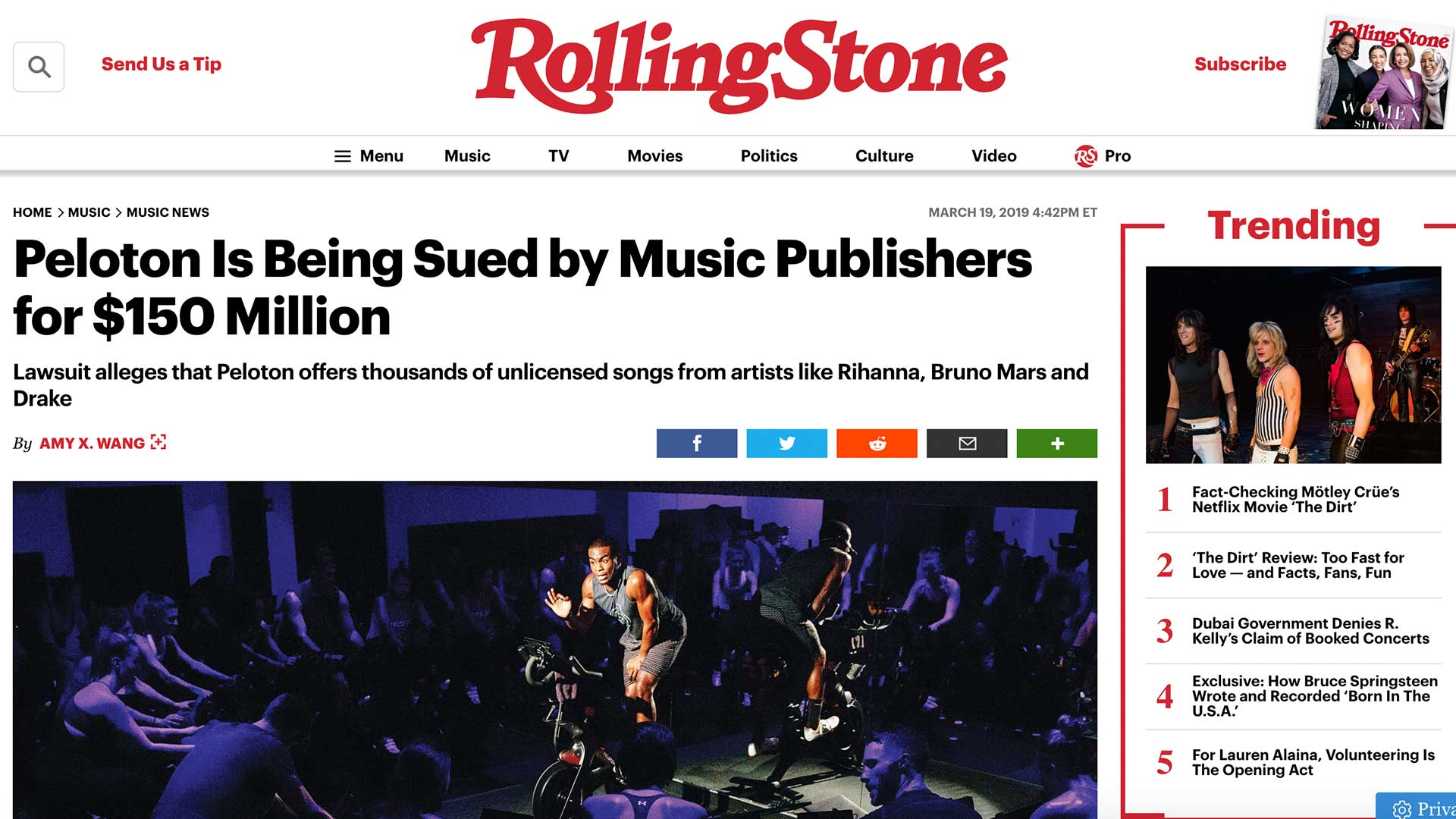 Fairness Rocks News Peloton Is Being Sued by Music Publishers for $150 Million