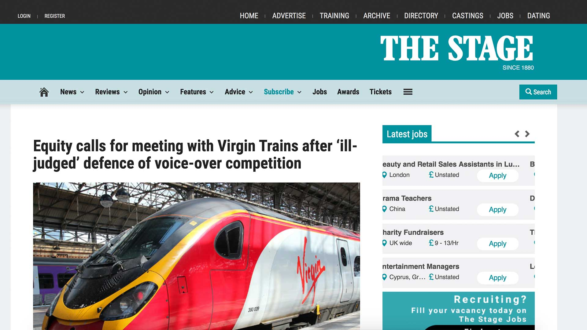 Fairness Rocks News Equity calls for meeting with Virgin Trains after 'ill-judged' defence of voice-over competition