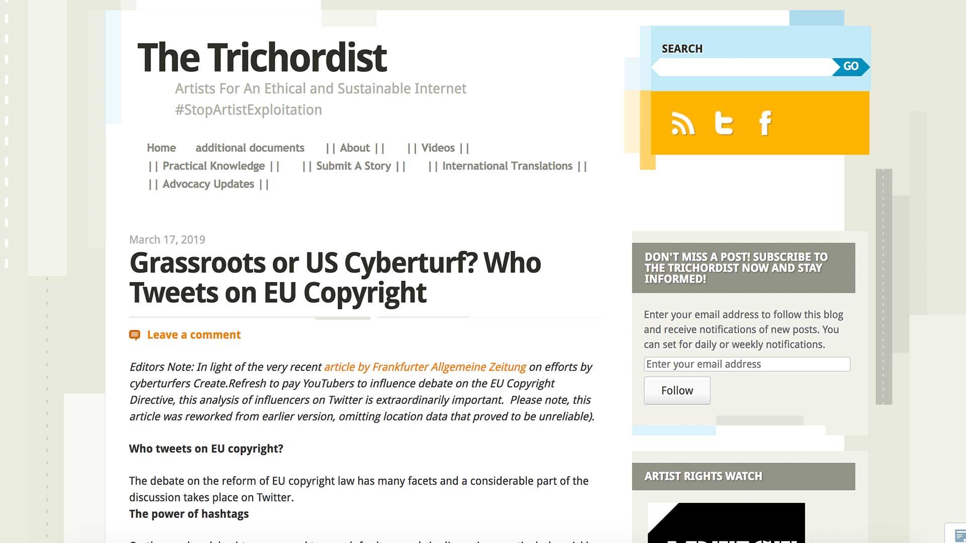 Fairness Rocks News Grassroots or US Cyberturf? Who Tweets on EU Copyright