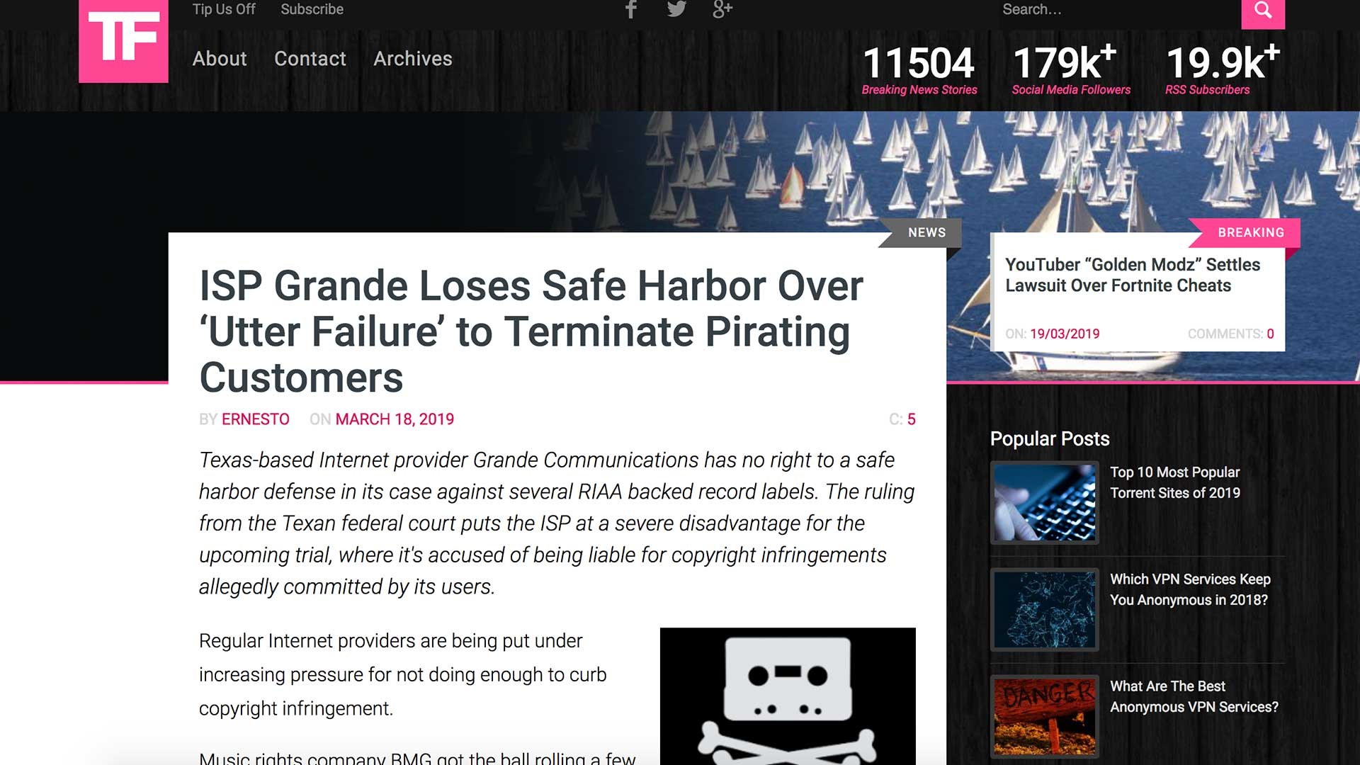 Fairness Rocks News ISP Grande Loses Safe Harbor Over 'Utter Failure' to Terminate Pirating Customers
