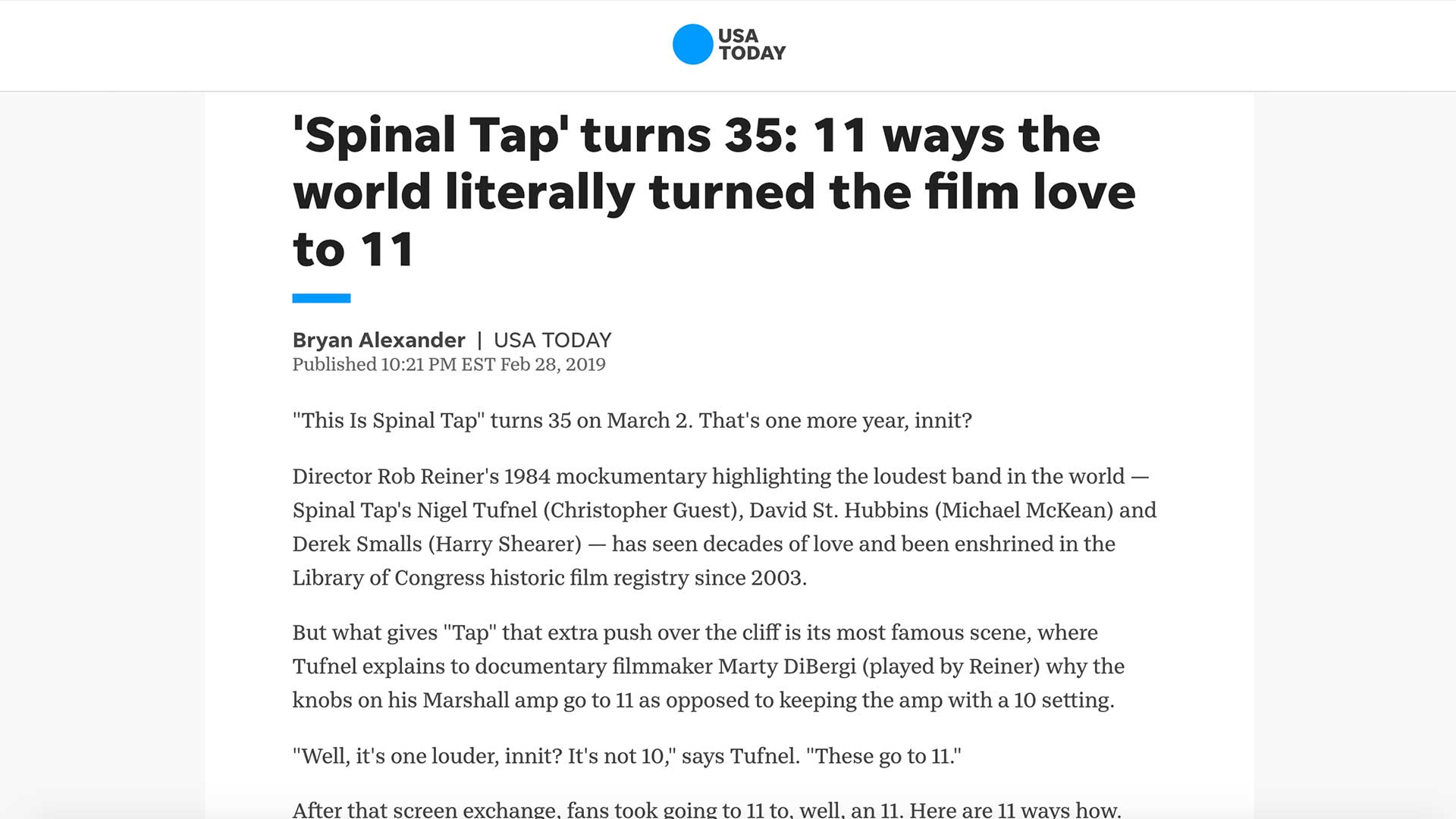 Fairness Rocks News 'Spinal Tap' turns 35: 11 ways the world literally turned the film love to 11