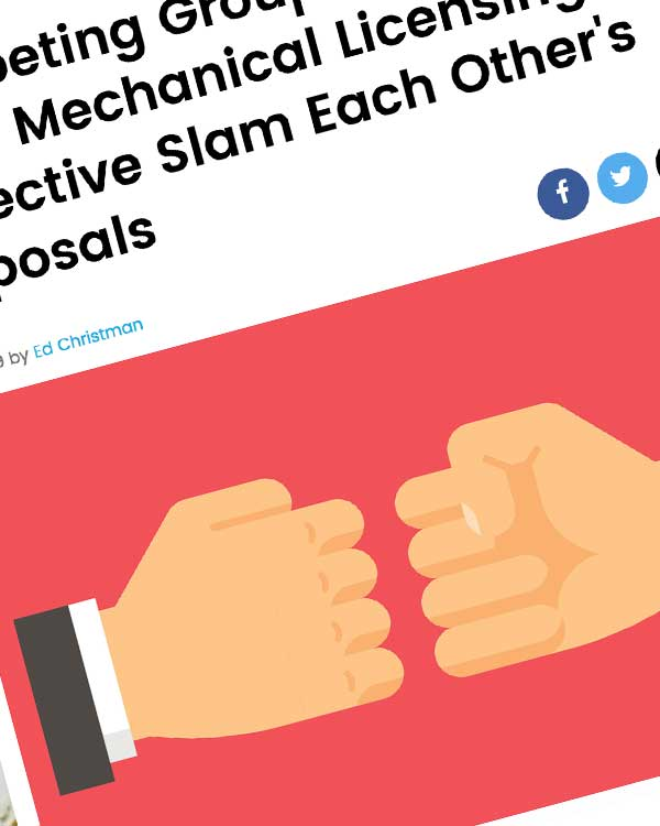 Fairness Rocks News Competing Groups Vying to Form Mechanical Licensing Collective Slam Each Other's Proposals