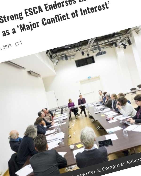 Fairness Rocks News 50,000-Member Strong ESCA Endorses the AMLC; Slams the NMPA's MLC Bid as a 'Major Conflict of Interest'