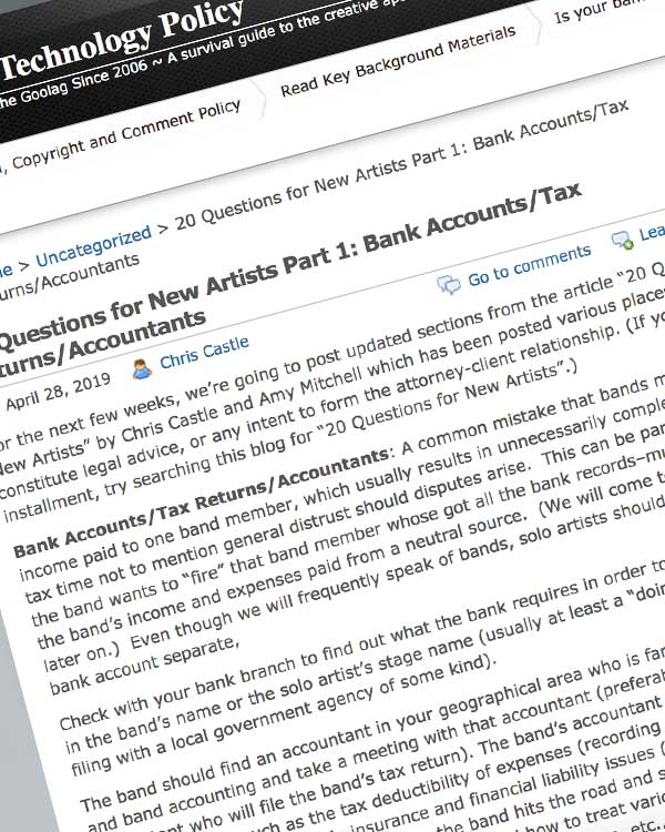 Fairness Rocks News 20 Questions for New Artists Part 1: Bank Accounts/Tax Returns/Accountants