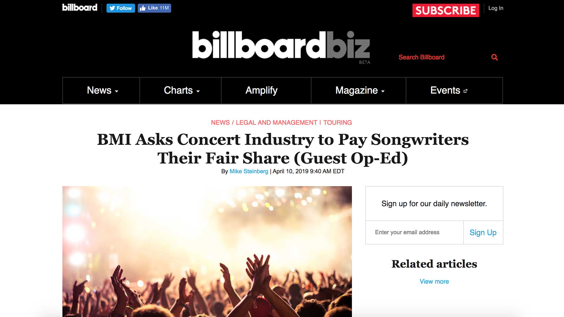 Fairness Rocks News BMI Asks Concert Industry to Pay Songwriters Their Fair Share (Guest Op-Ed)