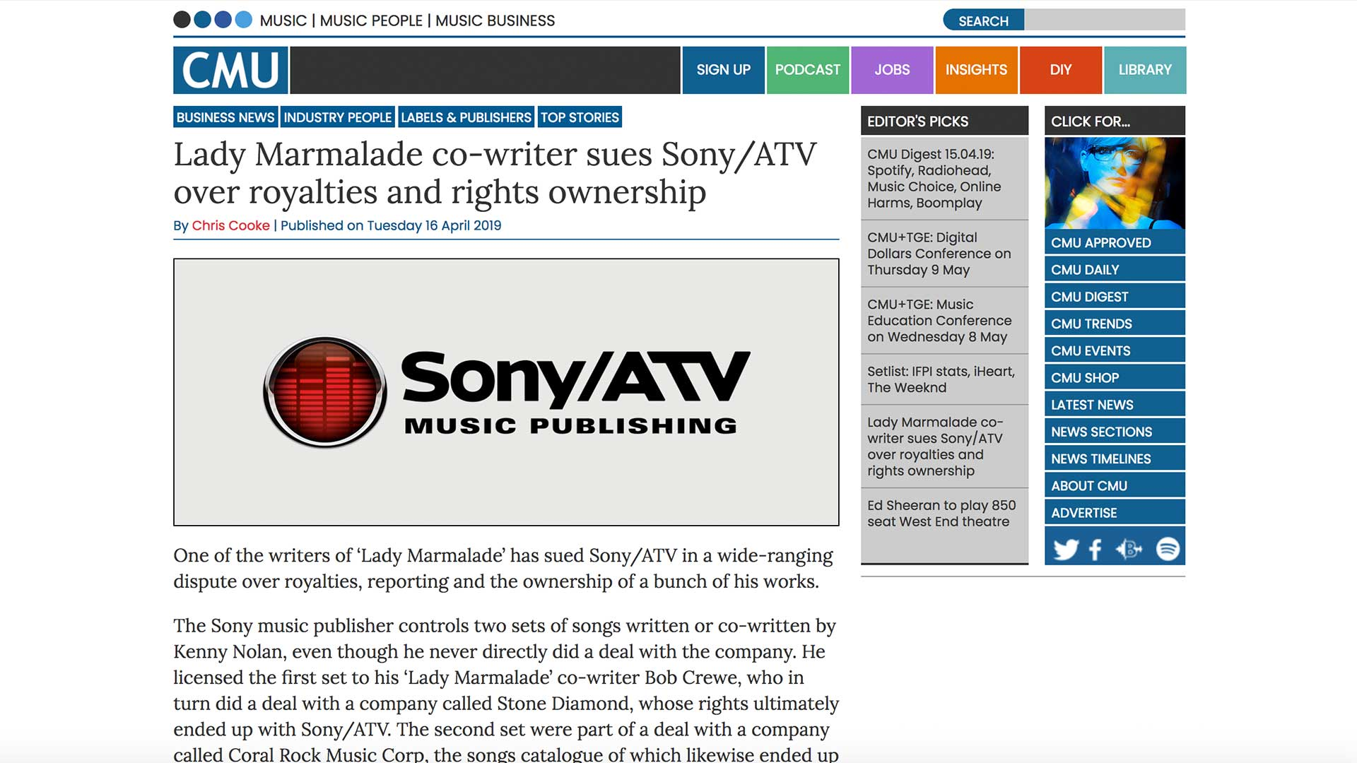 Fairness Rocks News Lady Marmalade co-writer sues Sony/ATV over royalties and rights ownership