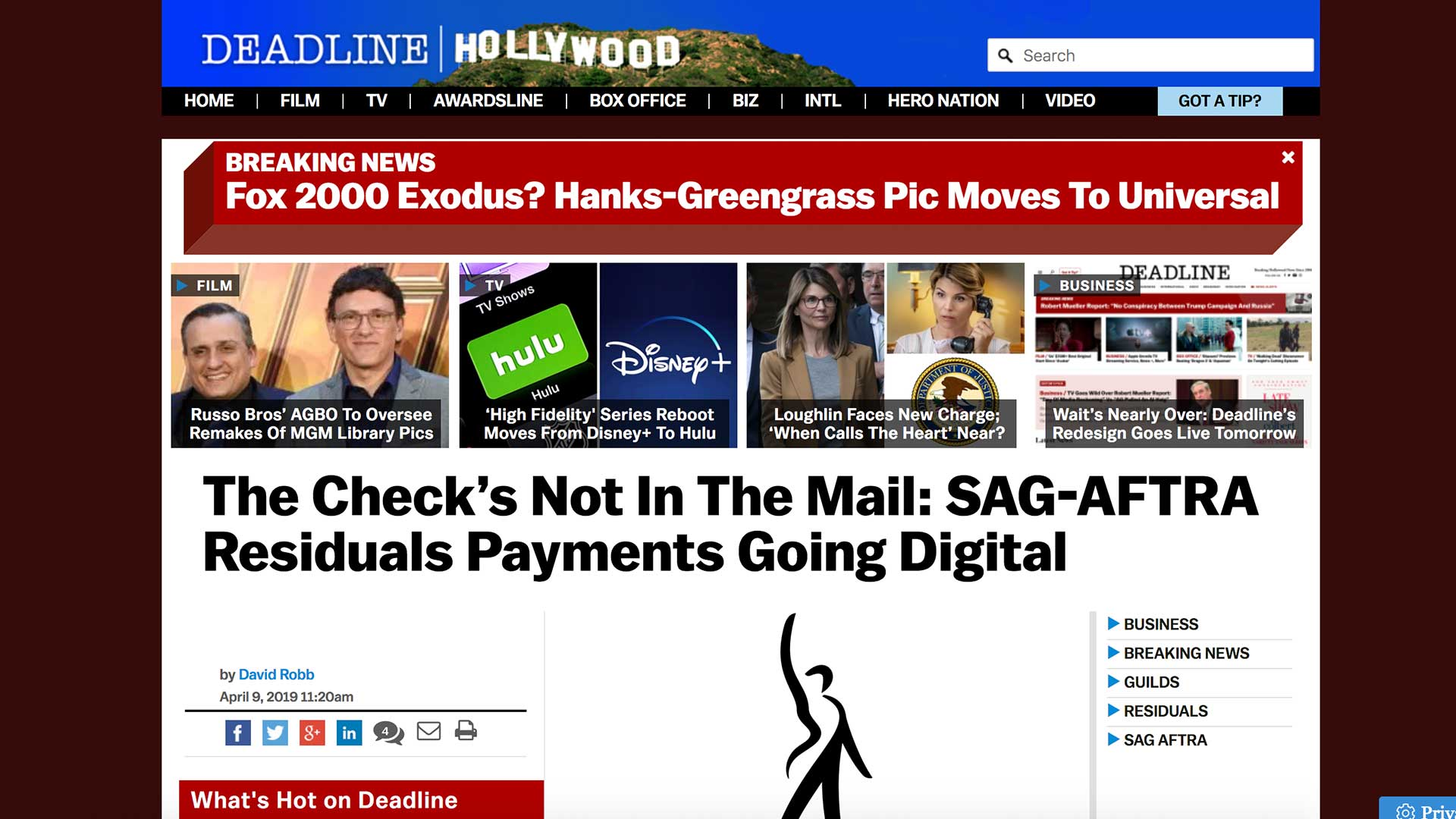 Fairness Rocks News The Check's Not In The Mail: SAG-AFTRA Residuals Payments Going Digital