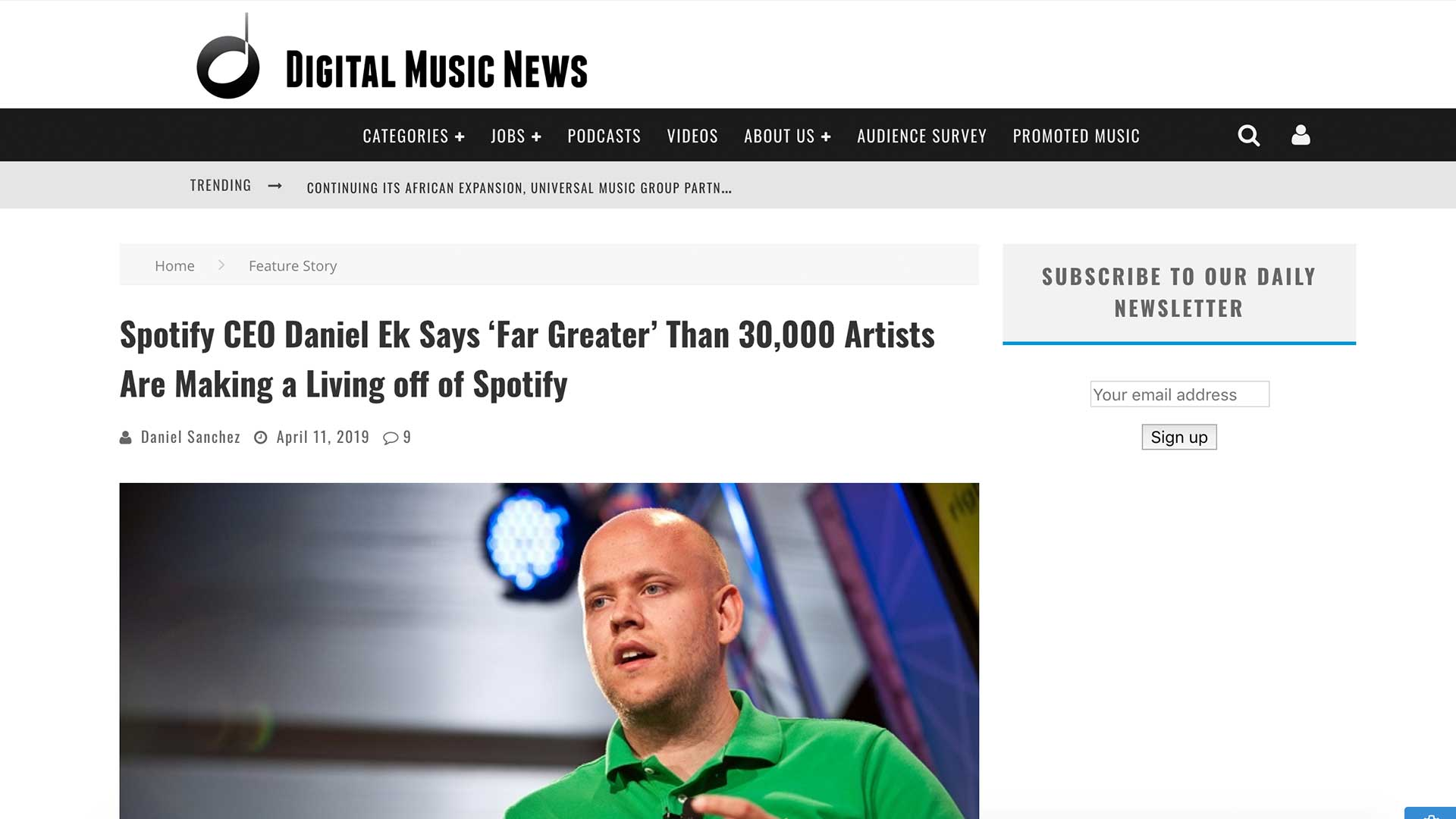 Fairness Rocks News Spotify CEO Daniel Ek Says 'Far Greater' Than 30,000 Artists Are Making a Living off of Spotify