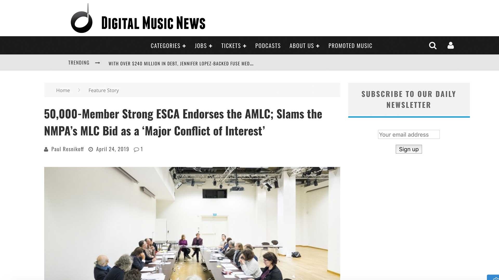 Fairness Rocks News 50,000-Member Strong ESCA Endorses the AMLC; Slams the NMPA's MLC Bid as a 'Major Conflict of Interest'