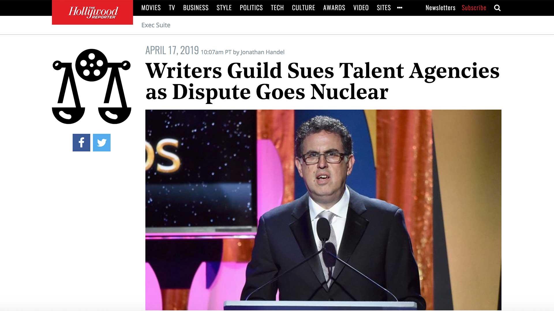 Fairness Rocks News Writers Guild Sues Talent Agencies as Dispute Goes Nuclear