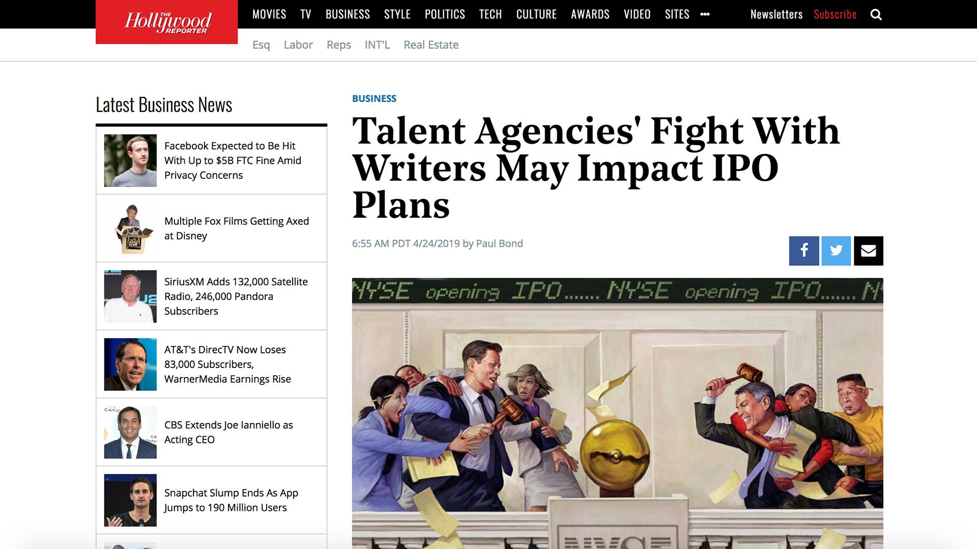 Fairness Rocks News Talent Agencies' Fight With Writers May Impact IPO Plans