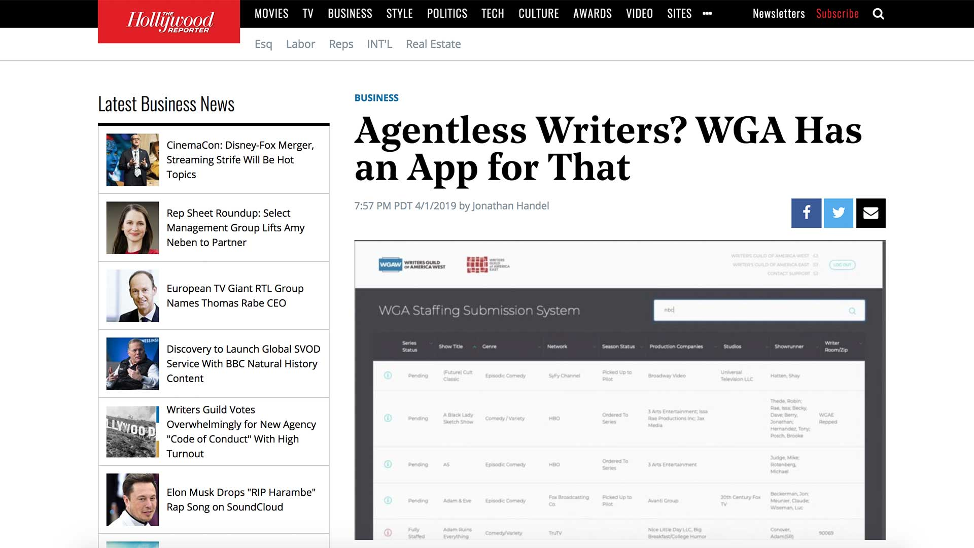 Fairness Rocks News Agentless Writers? WGA Has an App for That
