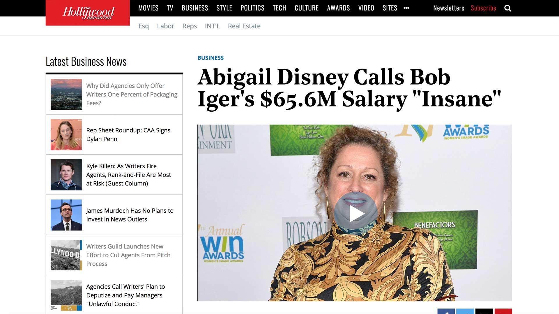 "Fairness Rocks News Abigail Disney Calls Bob Iger's $65.6M Salary ""Insane"""