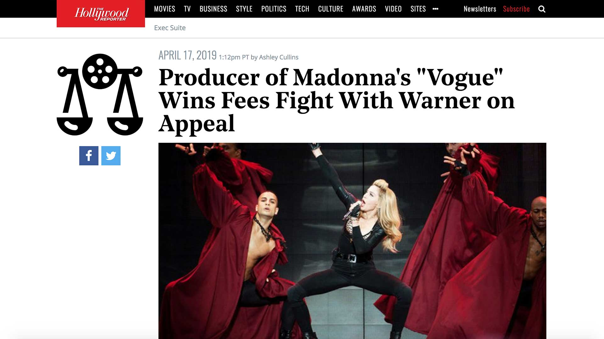 """Fairness Rocks News Producer of Madonna's """"Vogue"""" Wins Fees Fight With Warner on Appeal"""