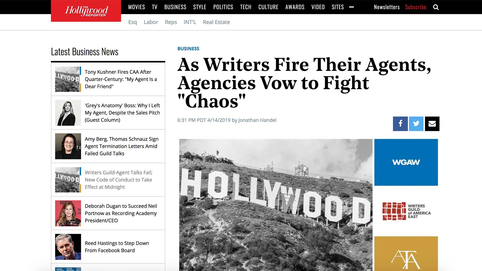 "Fairness Rocks News As Writers Fire Their Agents, Agencies Vow to Fight ""Chaos"""