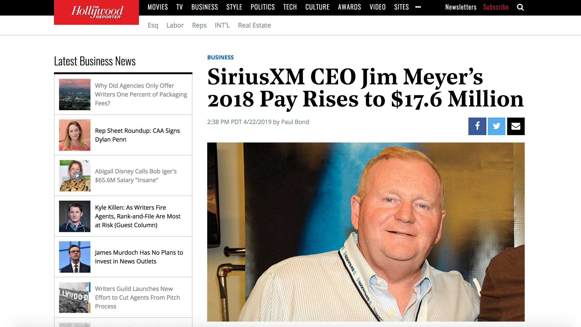 Fairness Rocks News SiriusXM CEO Jim Meyer's 2018 Pay Rises to $17.6 Million