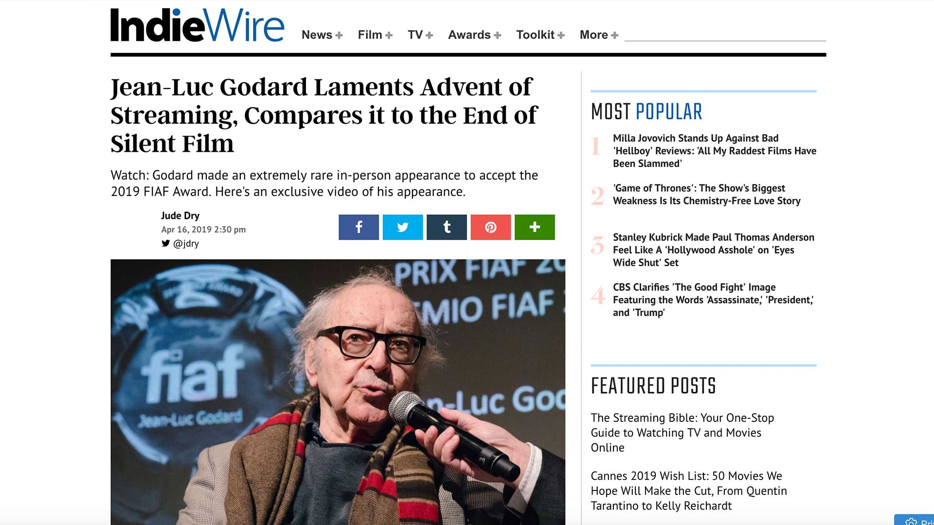 Fairness Rocks News Jean-Luc Godard Laments Advent of Streaming, Compares it to the End of Silent Film