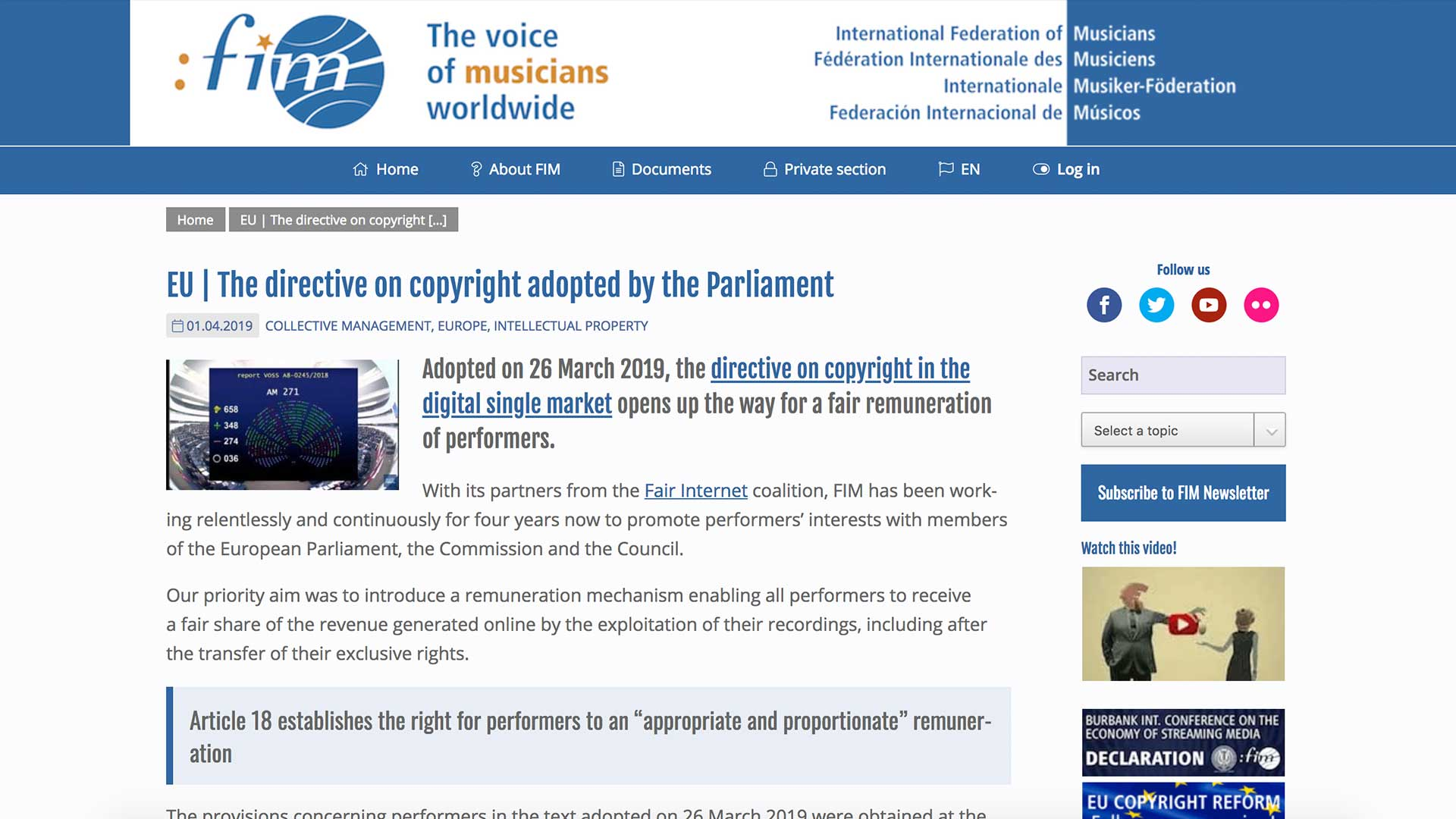 Fairness Rocks News EU   The directive on copyright adopted by the Parliament