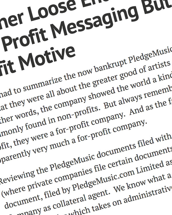 Fairness Rocks News Another Loose End: PledgeMusic's Non Profit Messaging But For Profit Motive