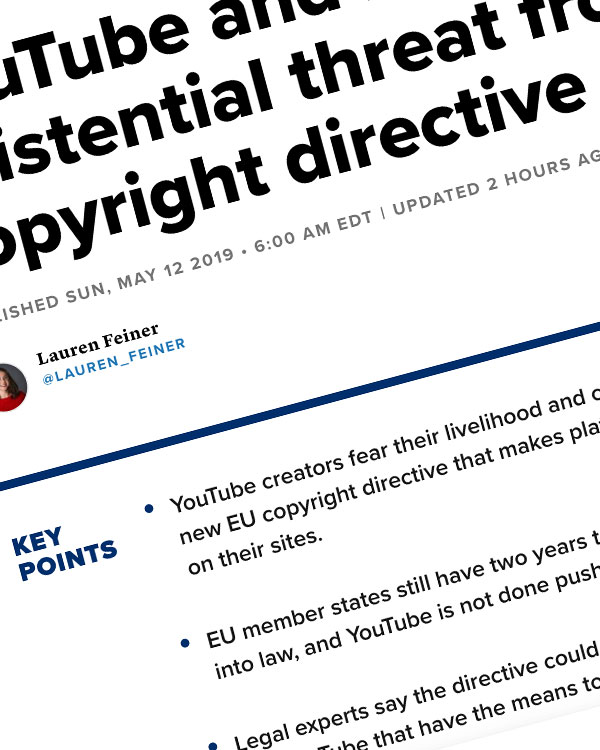 Fairness Rocks News YouTube and its users face an existential threat from the EU's new copyright directive