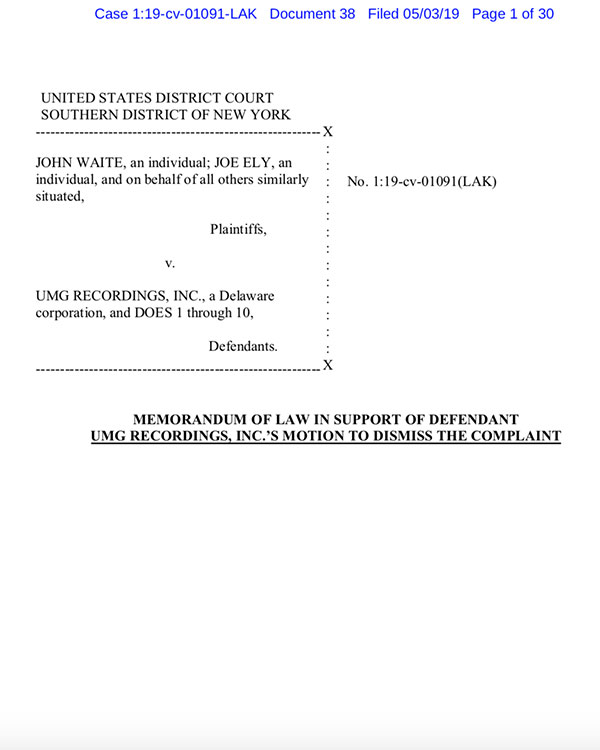 Fairness Rocks News MEMORANDUM OF LAW IN SUPPORT OF DEFENDANT UMG RECORDINGS, INC.'S MOTION TO DISMISS THE COMPLAINT