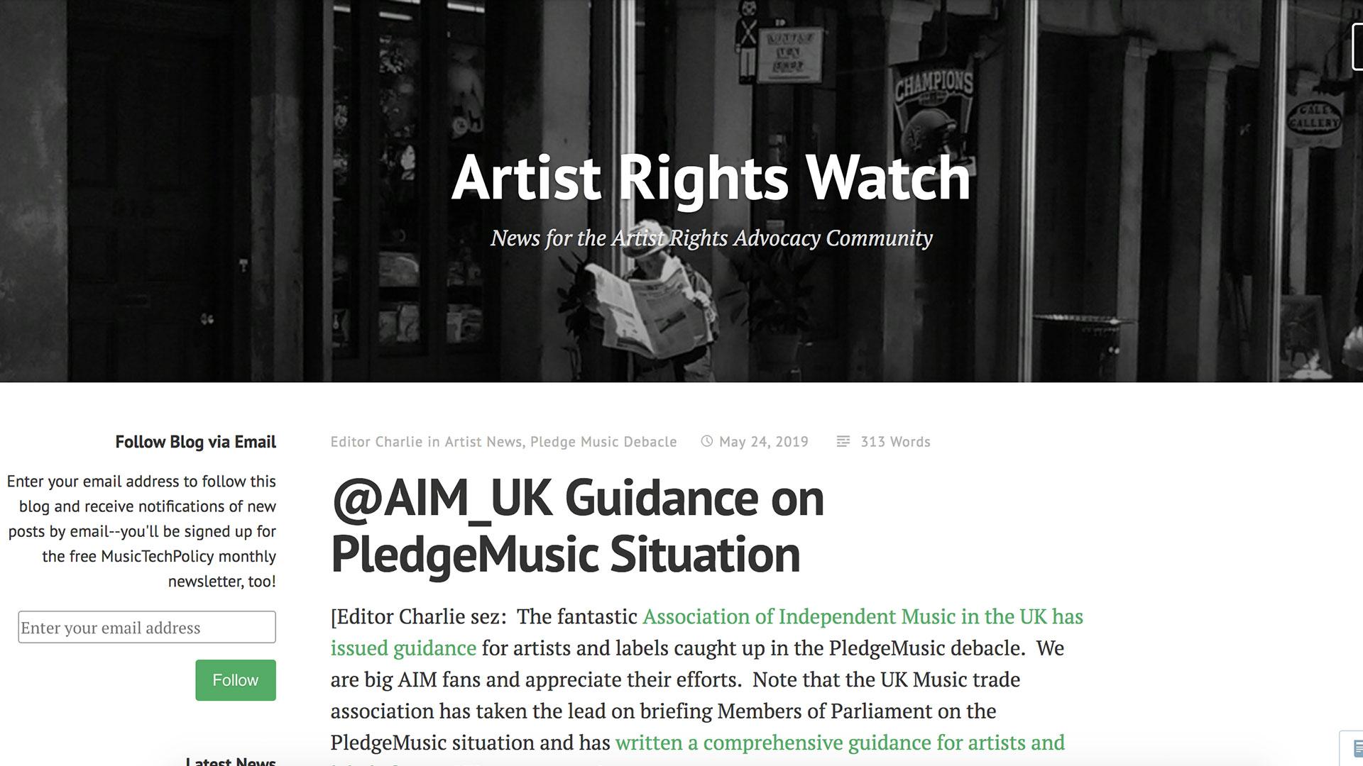 Fairness Rocks News @AIM_UK Guidance on PledgeMusic Situation