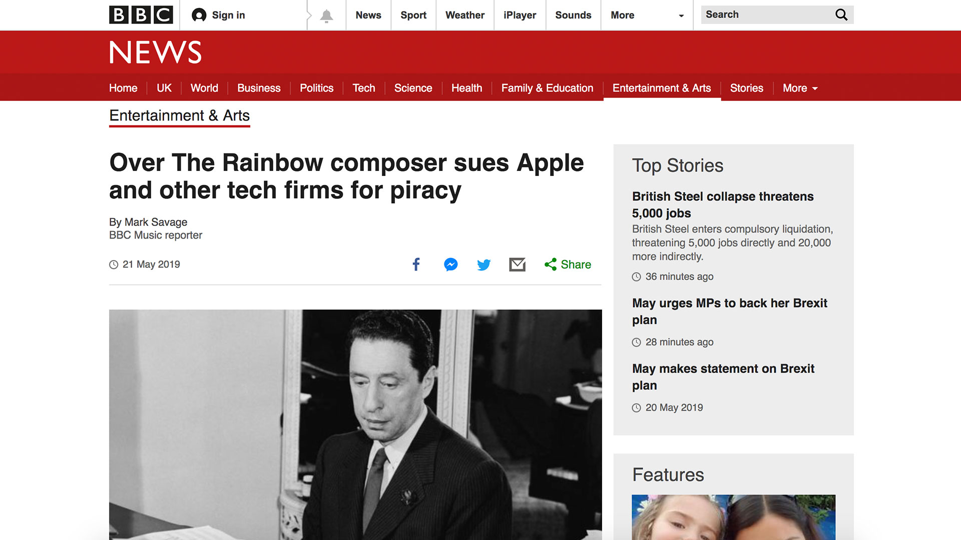 Fairness Rocks News Over The Rainbow composer sues Apple and other tech firms for piracy