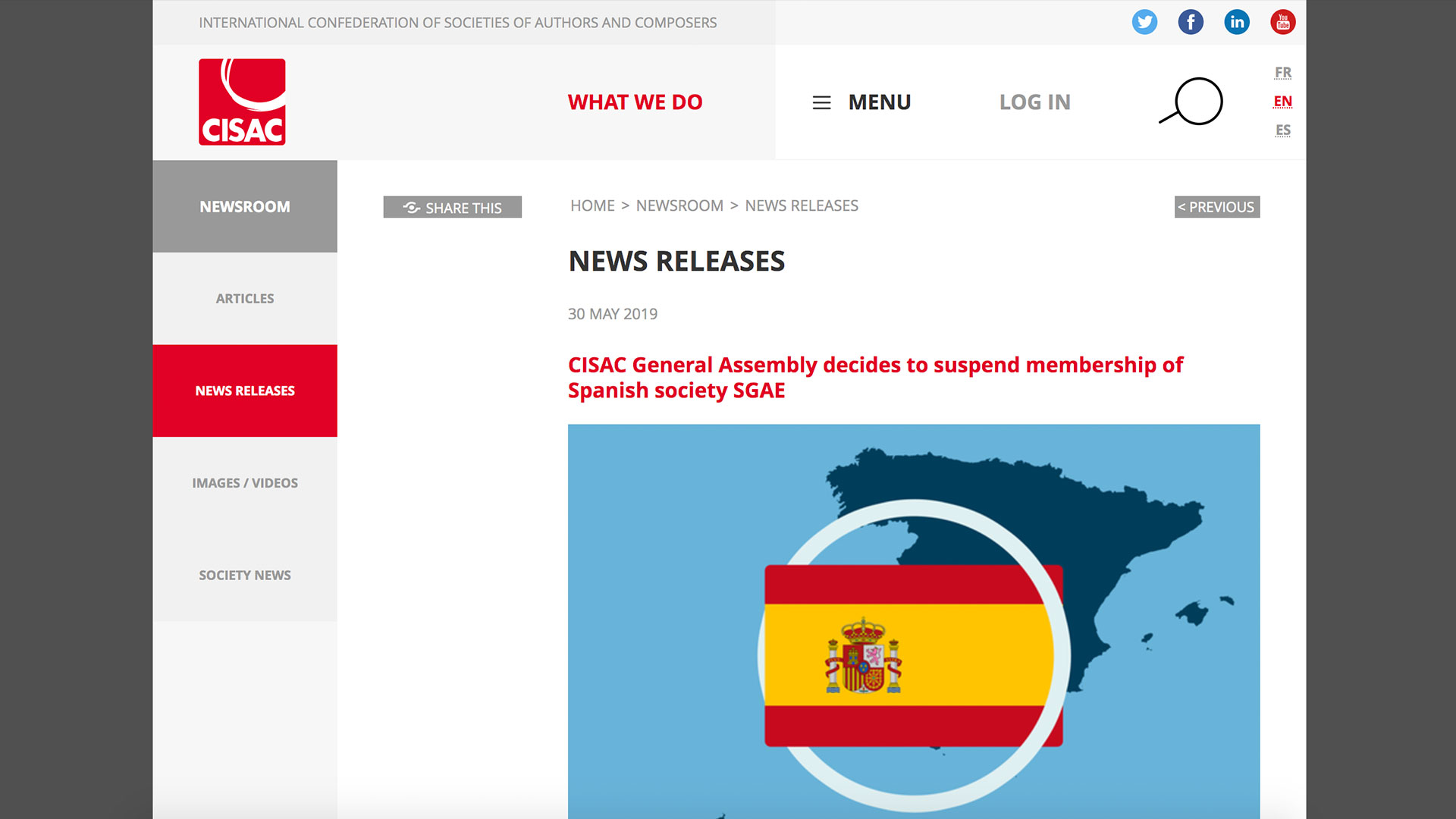 Fairness Rocks News CISAC General Assembly decides to suspend membership of Spanish society SGAE