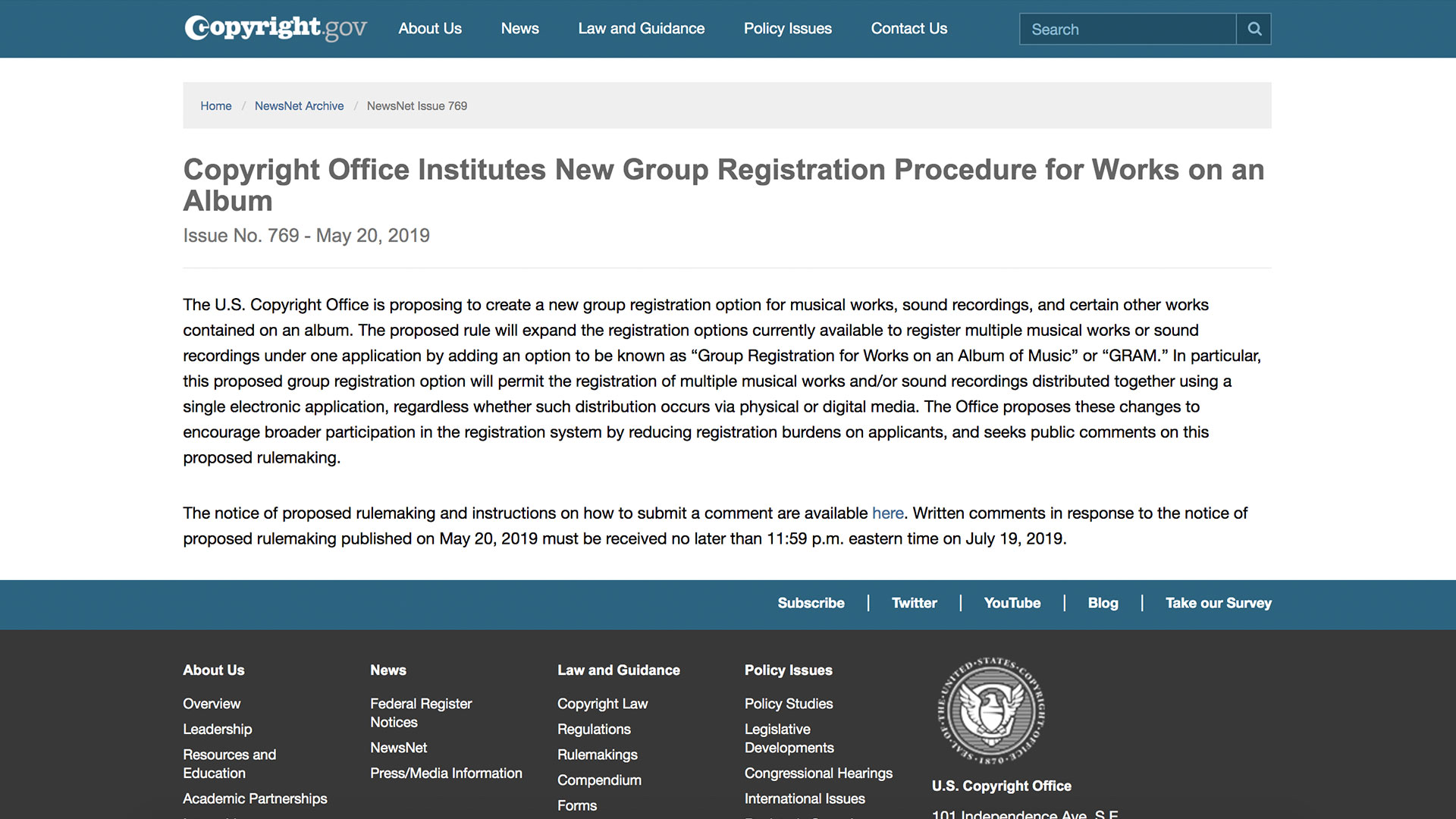 Fairness Rocks News Copyright Office Institutes New Group Registration Procedure for Works on an Album