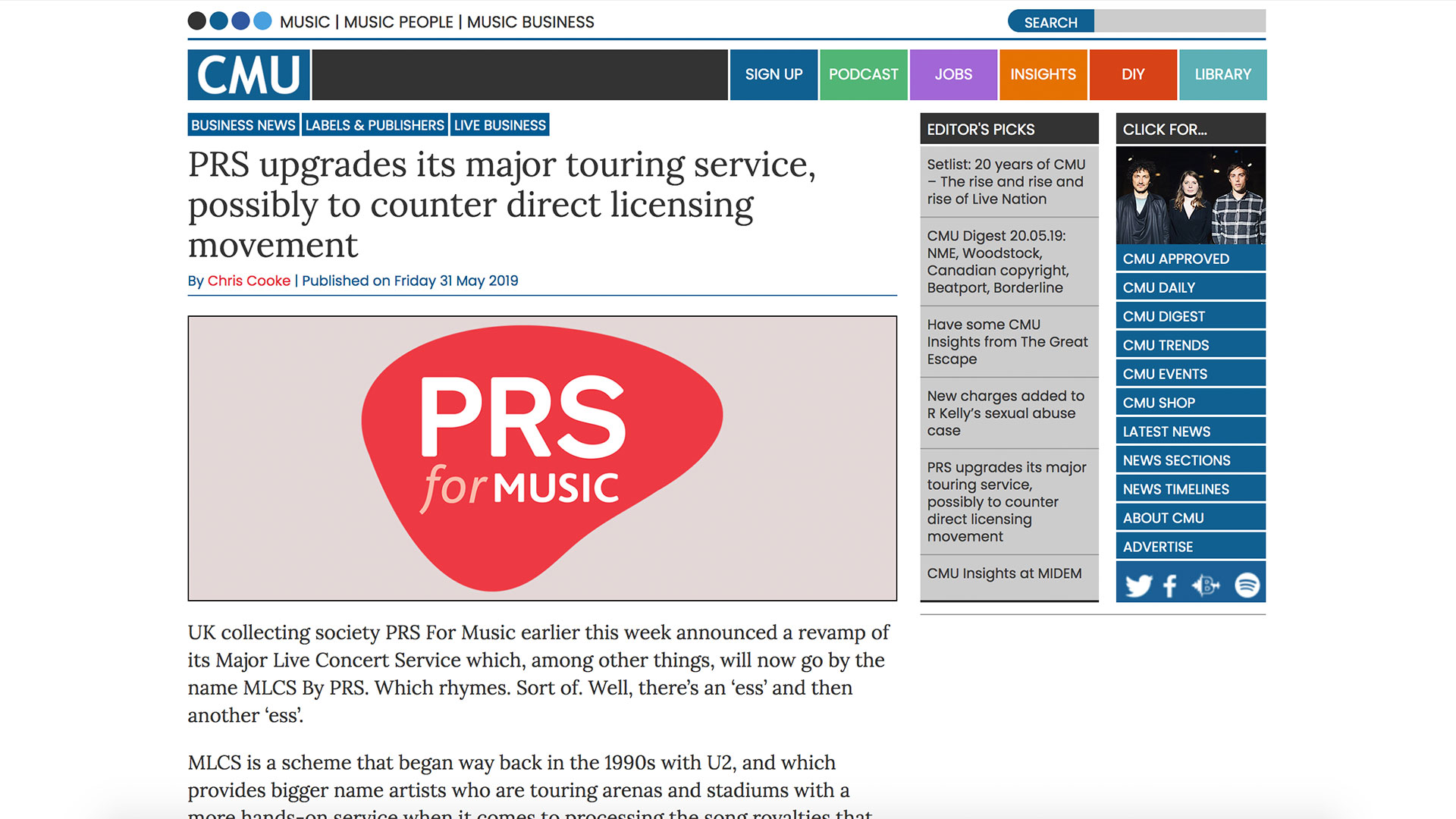 Fairness Rocks News PRS upgrades its major touring service, possibly to counter direct licensing movement