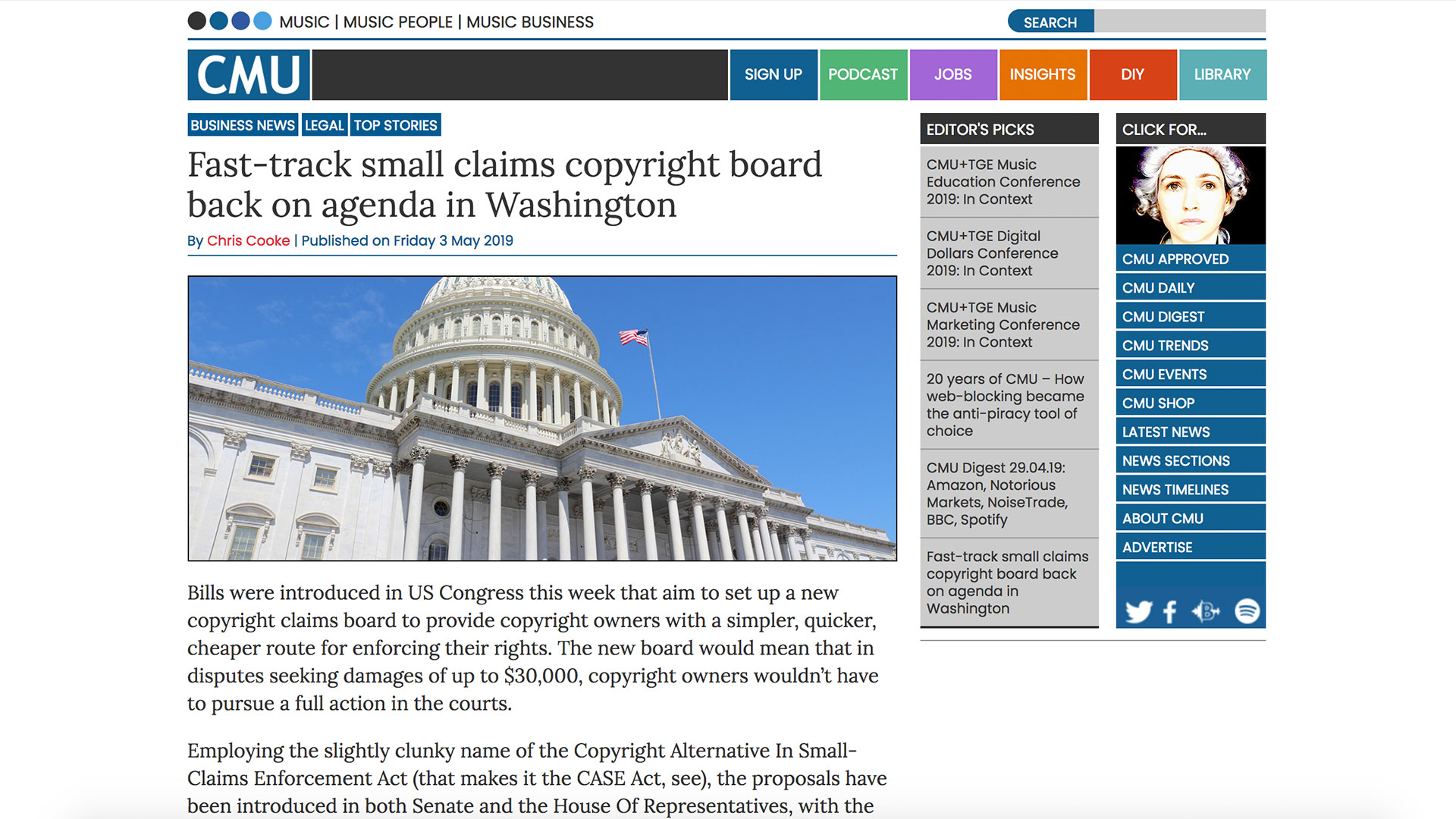 Fairness Rocks News Fast-track small claims copyright board back on agenda in Washington