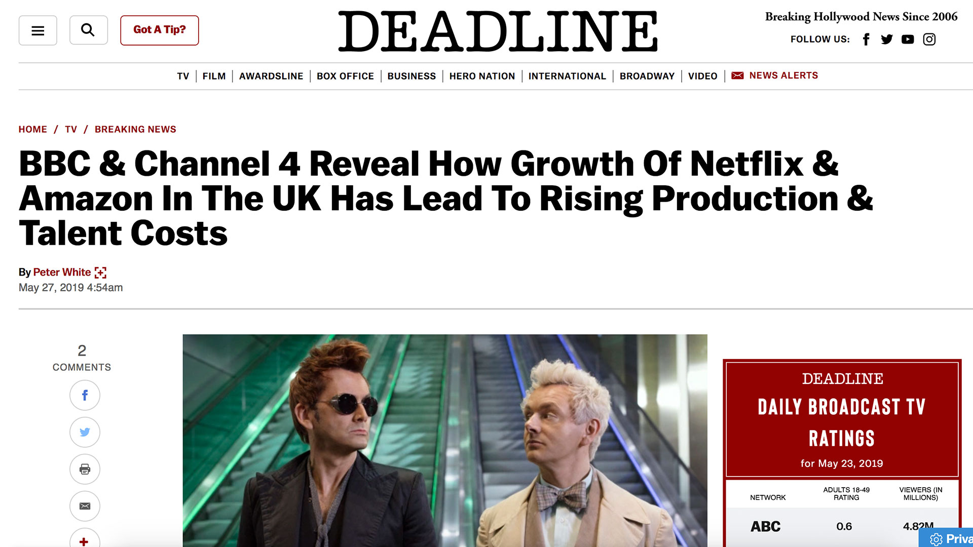 Fairness Rocks News BBC & Channel 4 Reveal How Growth Of Netflix & Amazon In The UK Has Lead To Rising Production & Talent Costs