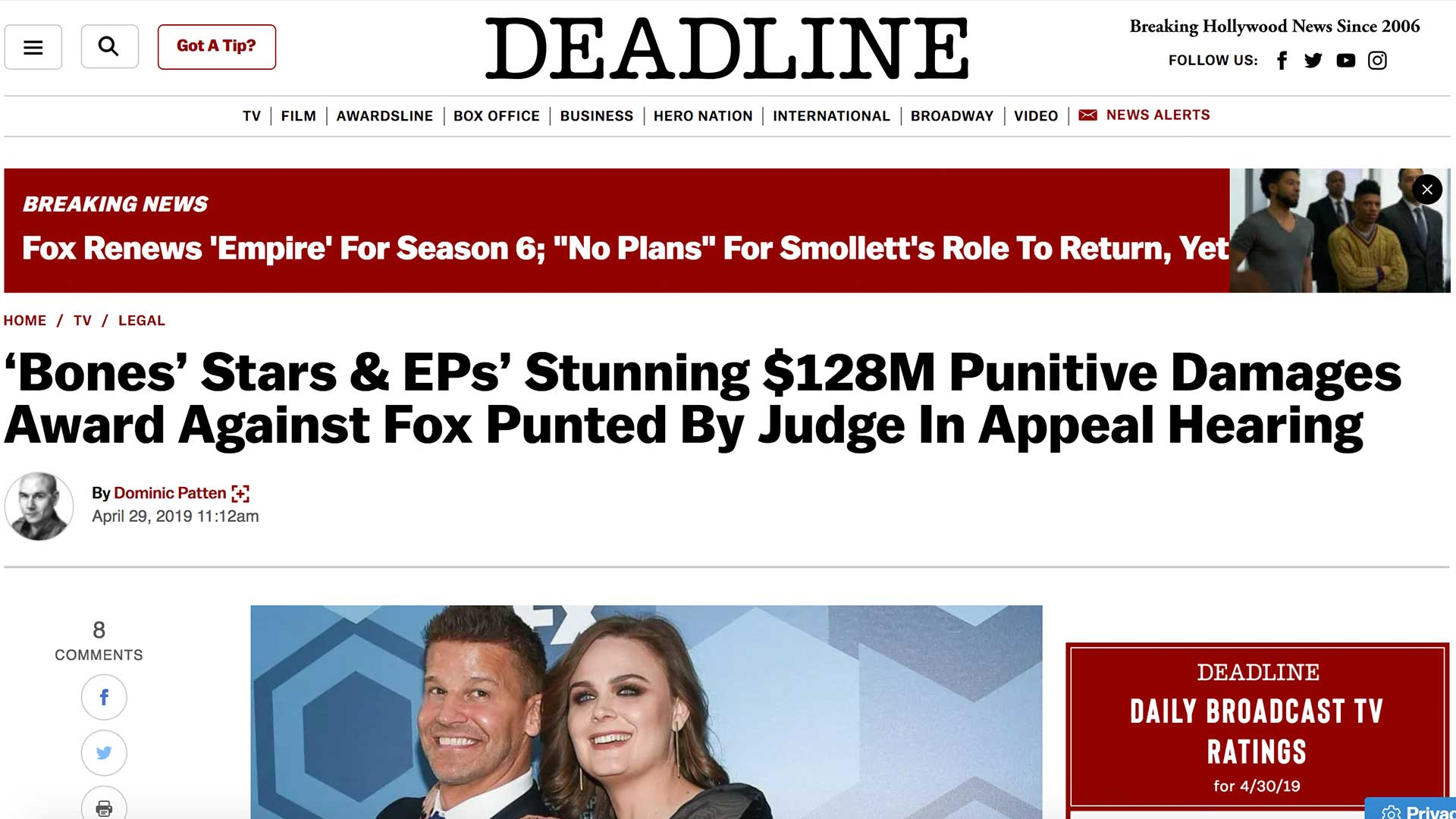Fairness Rocks News 'Bones' Stars & EPs' Stunning $128M Punitive Damages Award Against Fox Punted By Judge In Appeal Hearing