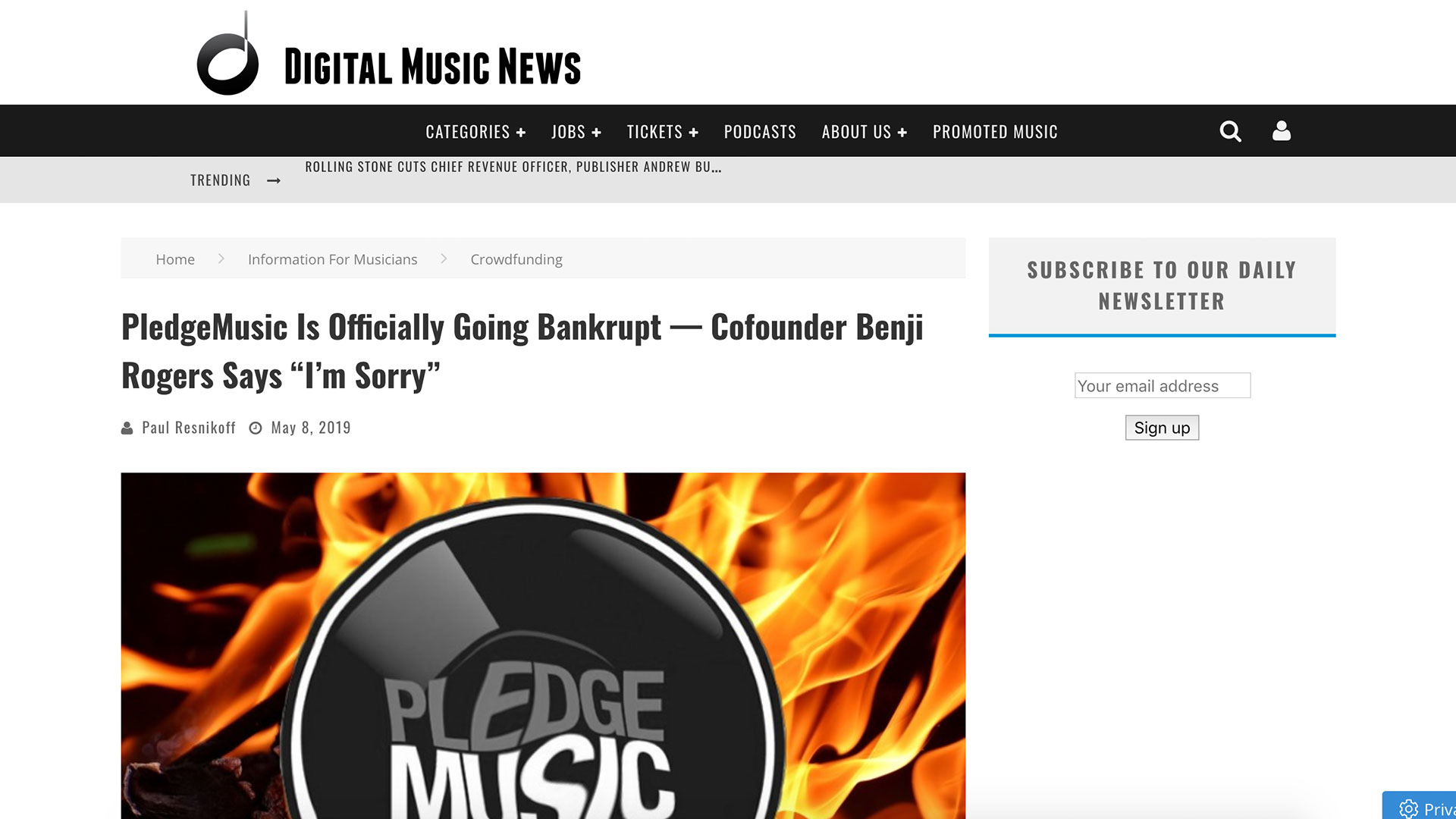 "Fairness Rocks News PledgeMusic Is Officially Going Bankrupt — Cofounder Benji Rogers Says ""I'm Sorry"""