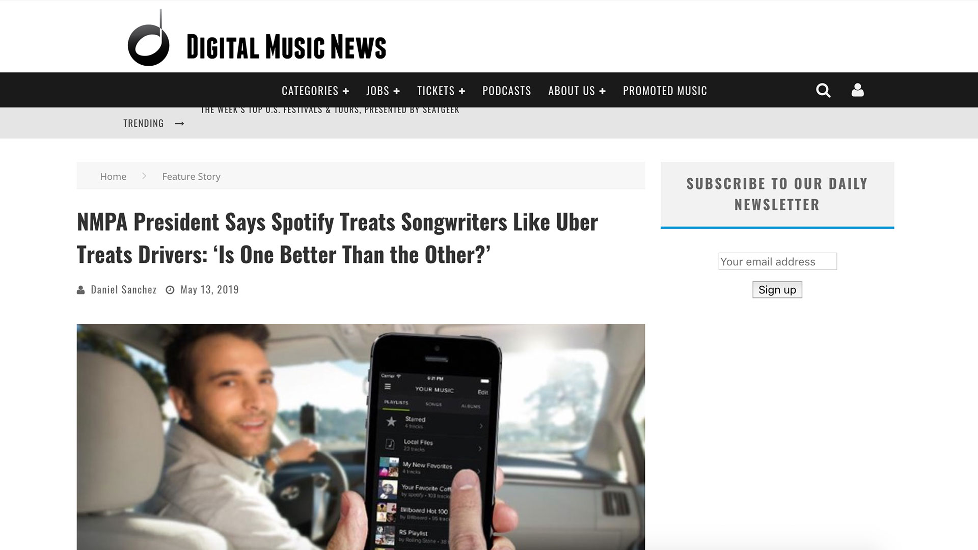 Fairness Rocks News NMPA President Says Spotify Treats Songwriters Like Uber Treats Drivers: 'Is One Better Than the Other?'