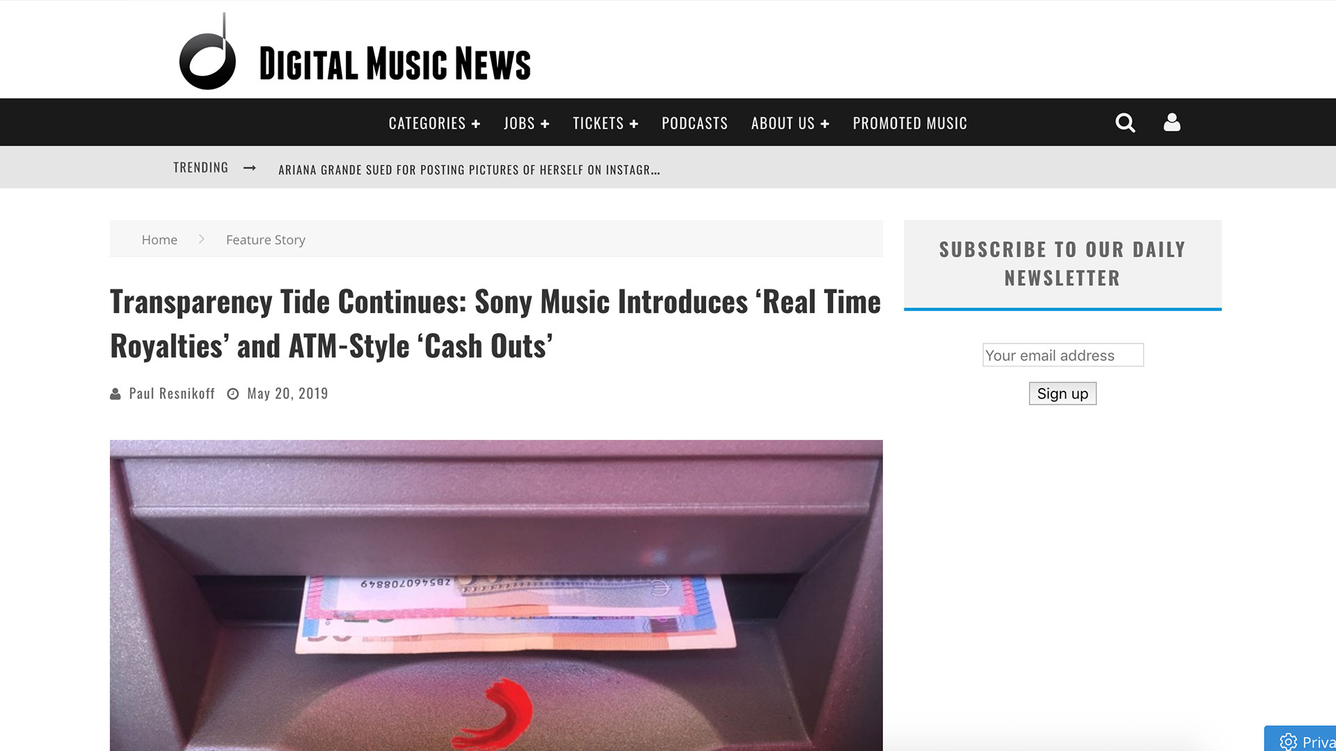 Fairness Rocks News Transparency Tide Continues: Sony Music Introduces 'Real Time Royalties' and ATM-Style 'Cash Outs'