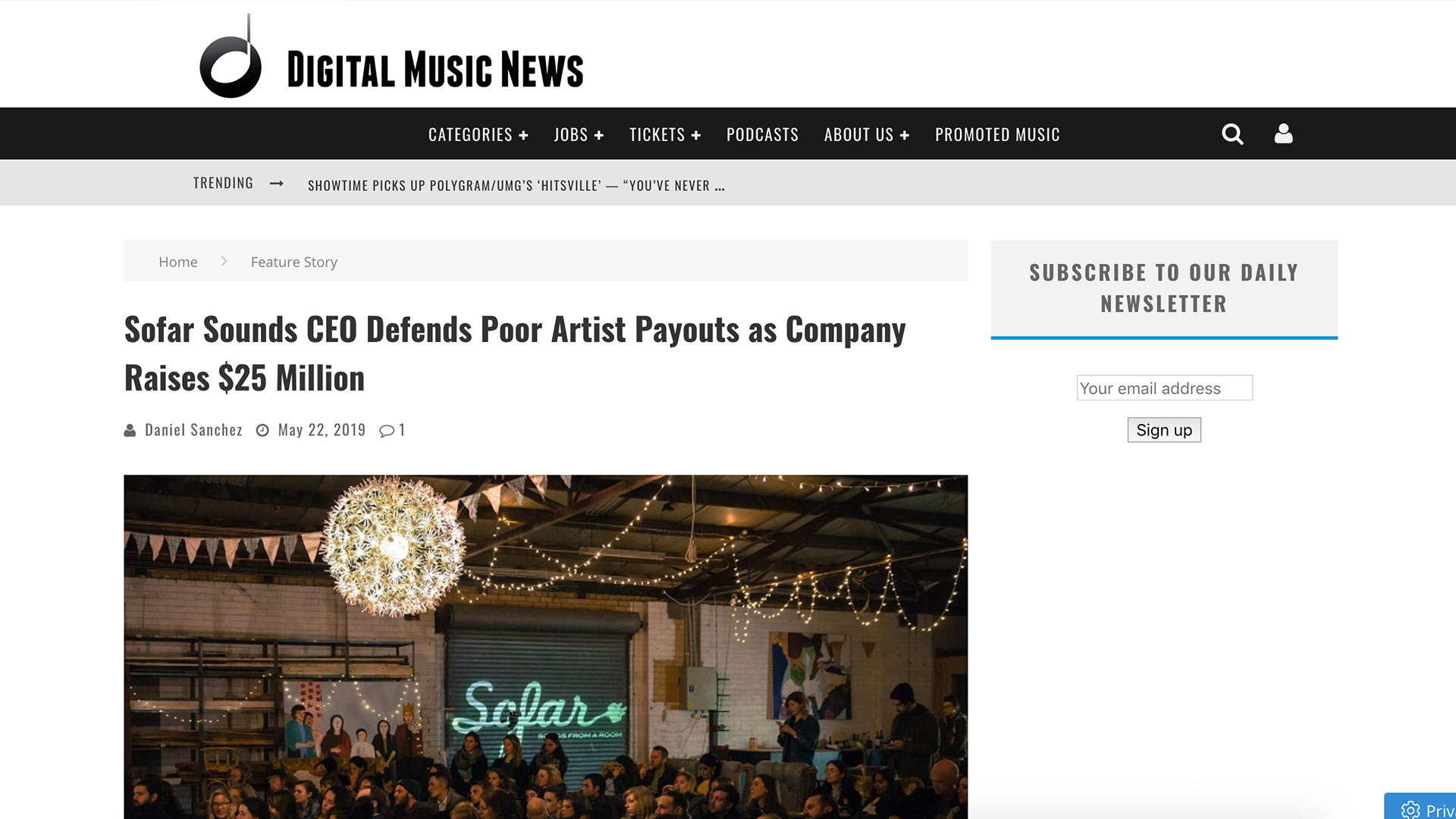 Fairness Rocks News Sofar Sounds CEO Defends Poor Artist Payouts as Company Raises $25 Million