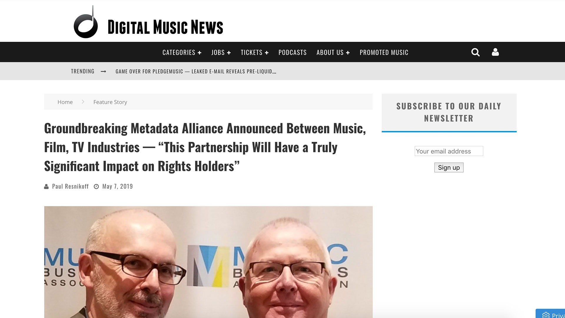"Fairness Rocks News Groundbreaking Metadata Alliance Announced Between Music, Film, TV Industries — ""This Partnership Will Have a Truly Significant Impact on Rights Holders"""