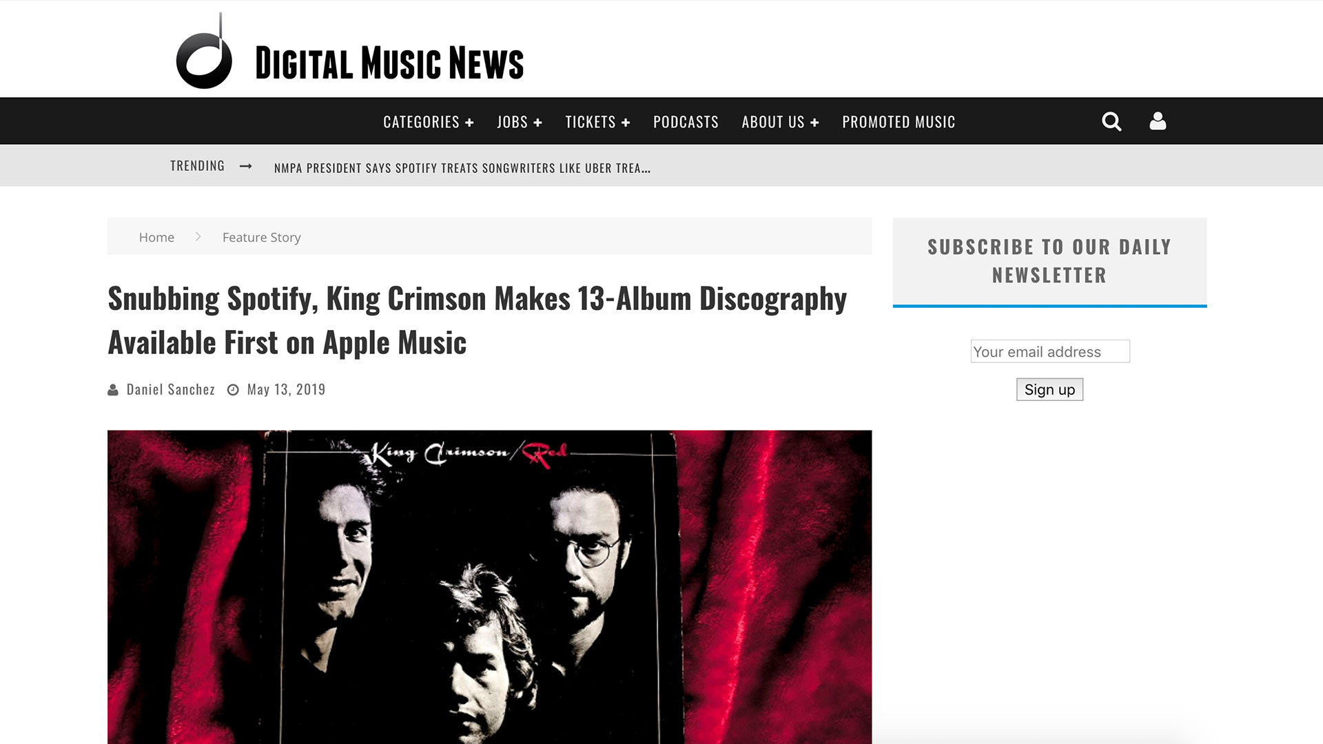 Fairness Rocks News Snubbing Spotify, King Crimson Makes 13-Album Discography Available First on Apple Music